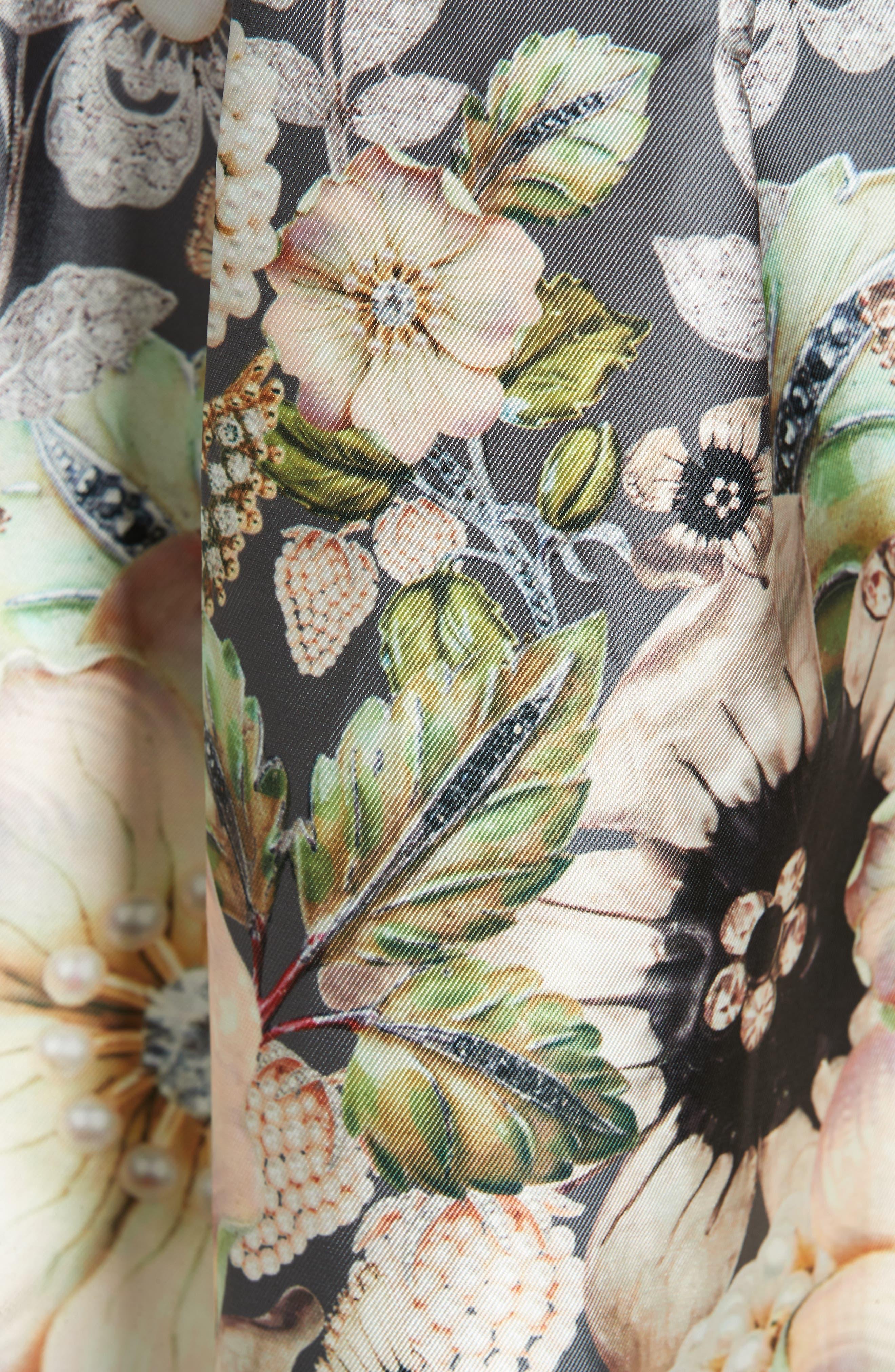 Molyka Gem Gardens Bow Dress,                             Alternate thumbnail 6, color,                             CHARCOAL