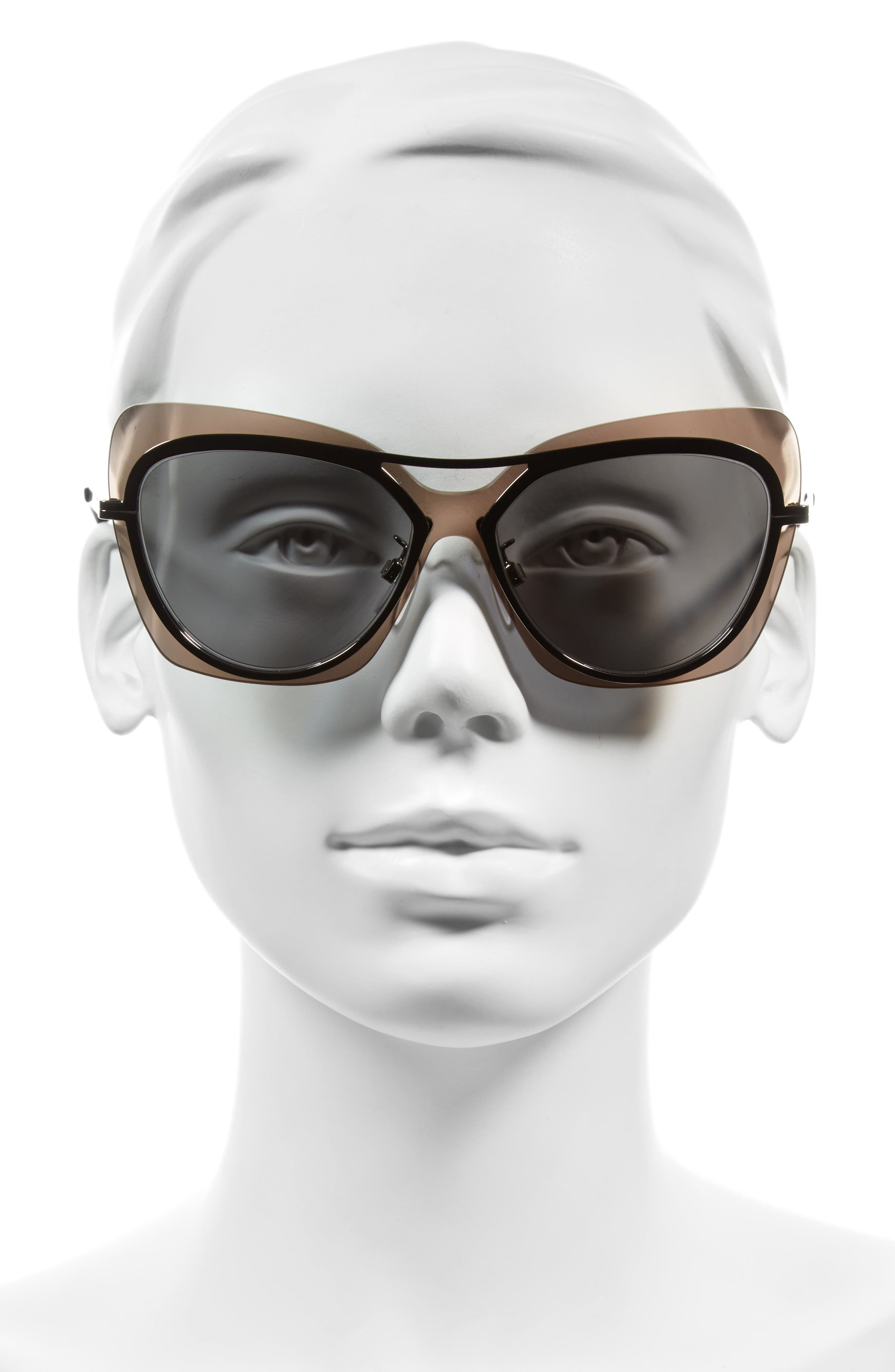 57mm Layered Butterfly Sunglasses,                             Alternate thumbnail 2, color,                             020