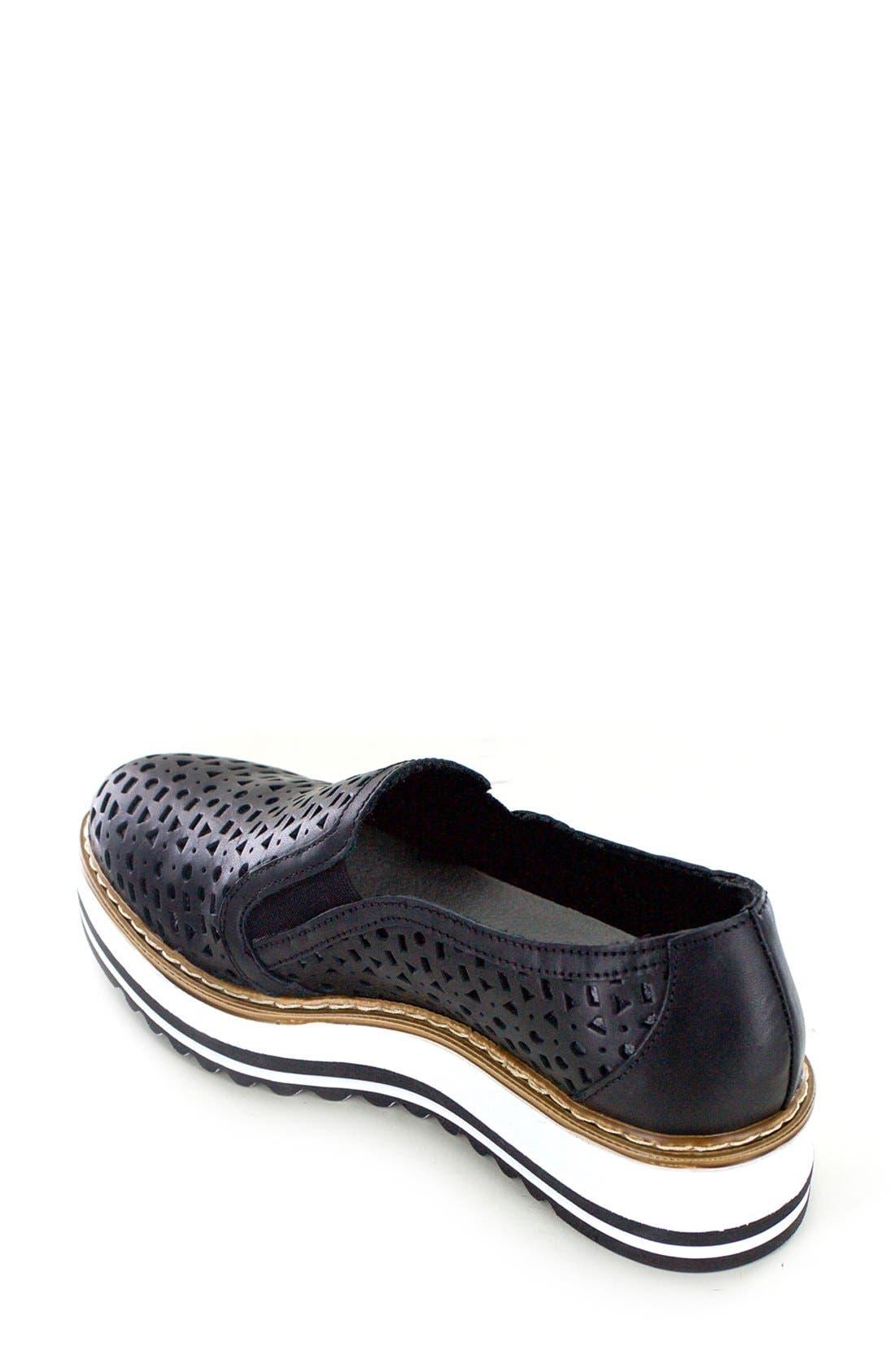 'Braxton' Platform Slip-On,                             Alternate thumbnail 7, color,                             BLACK LEATHER