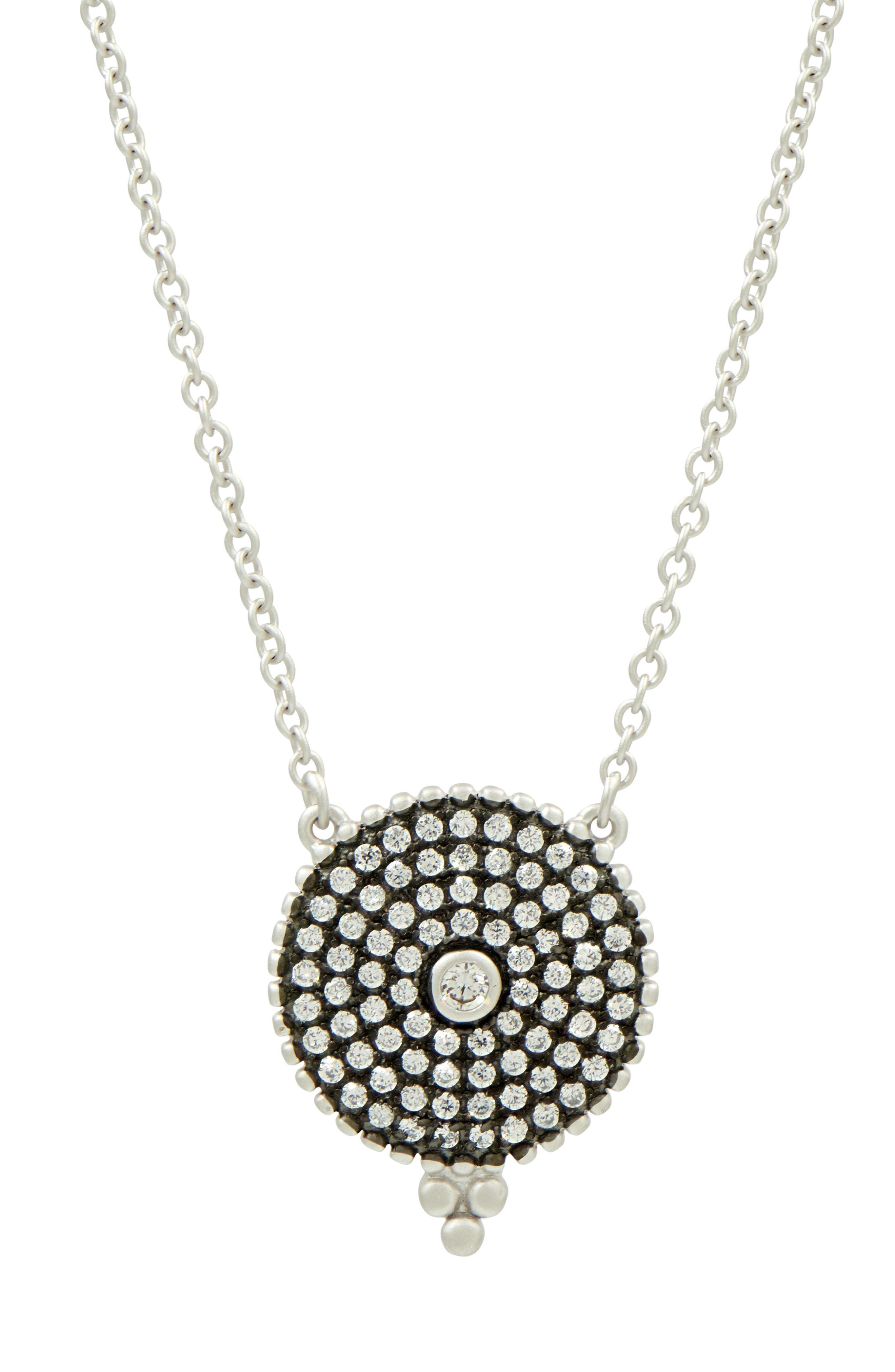 Pavé Disc Pendant Necklace,                         Main,                         color, BLACK/ WHITE/ SILVER