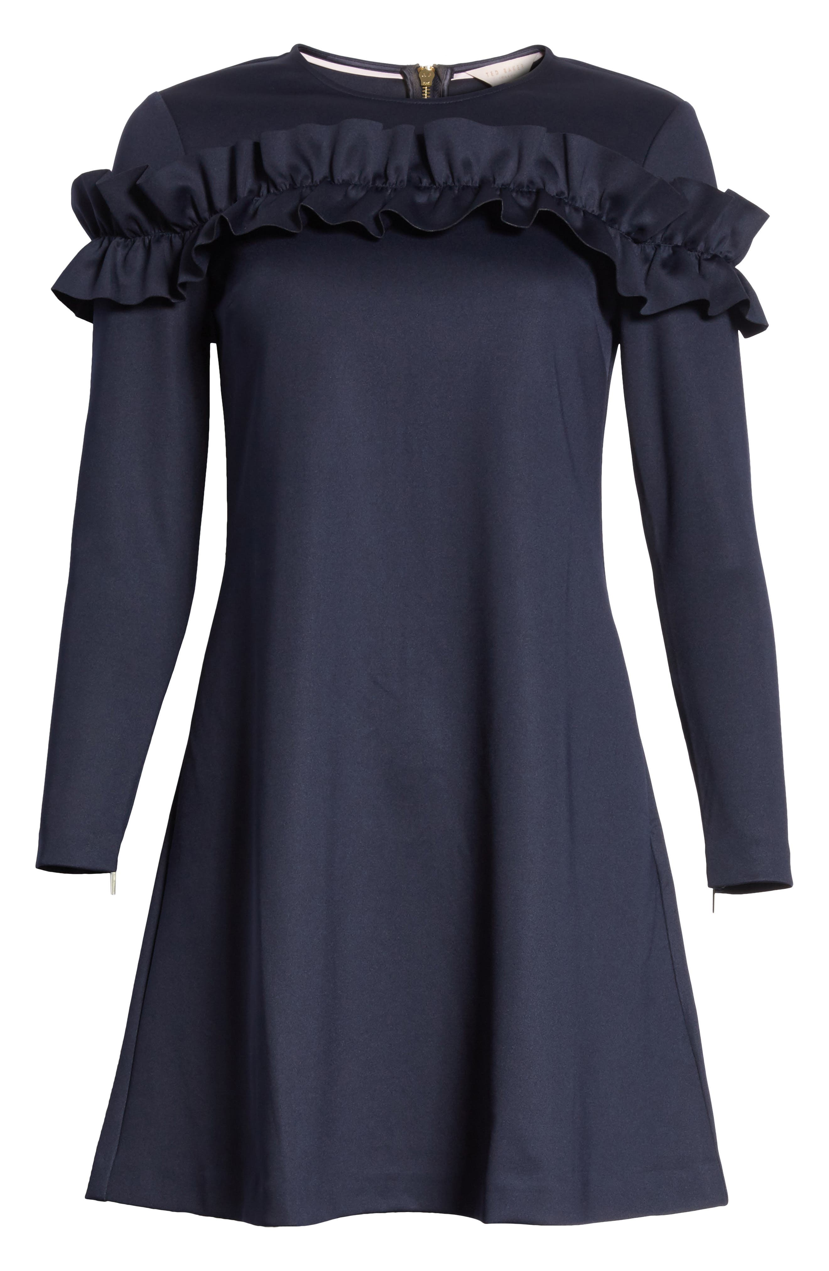 Ruffle Bodice Tunic Dress,                             Alternate thumbnail 6, color,                             402