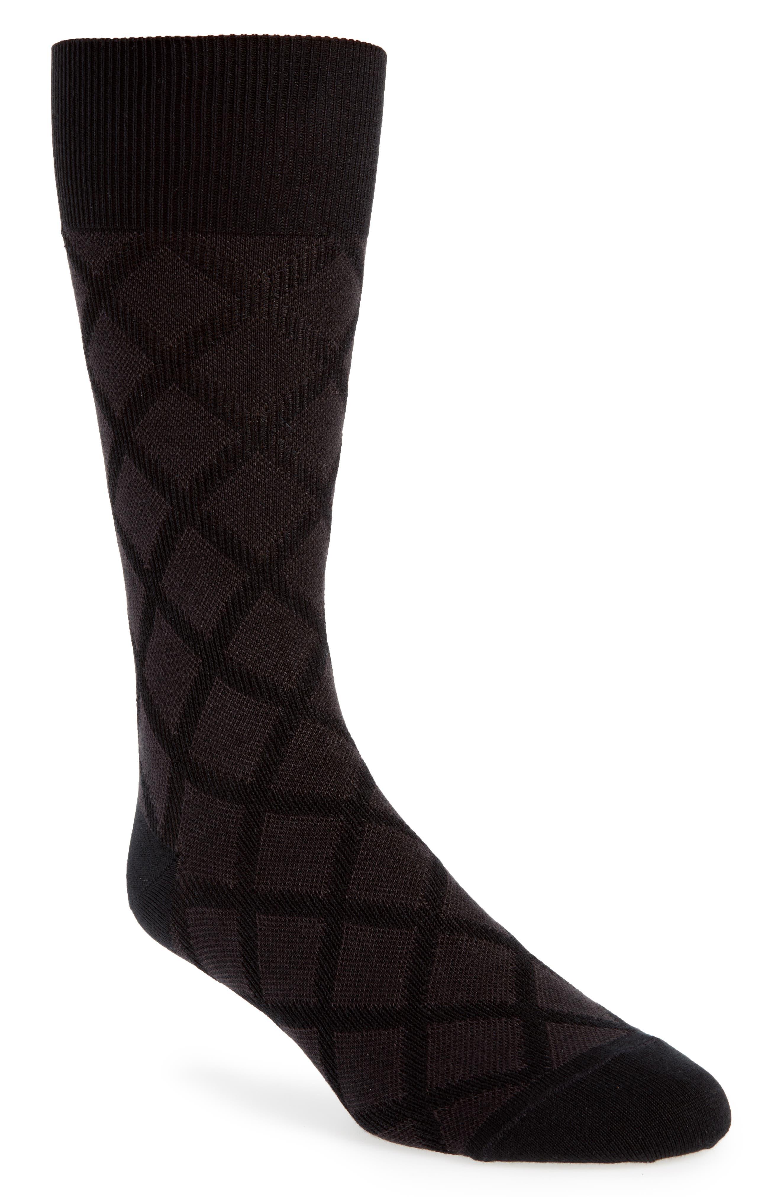 Diamond Grid Socks,                         Main,                         color, BLACK