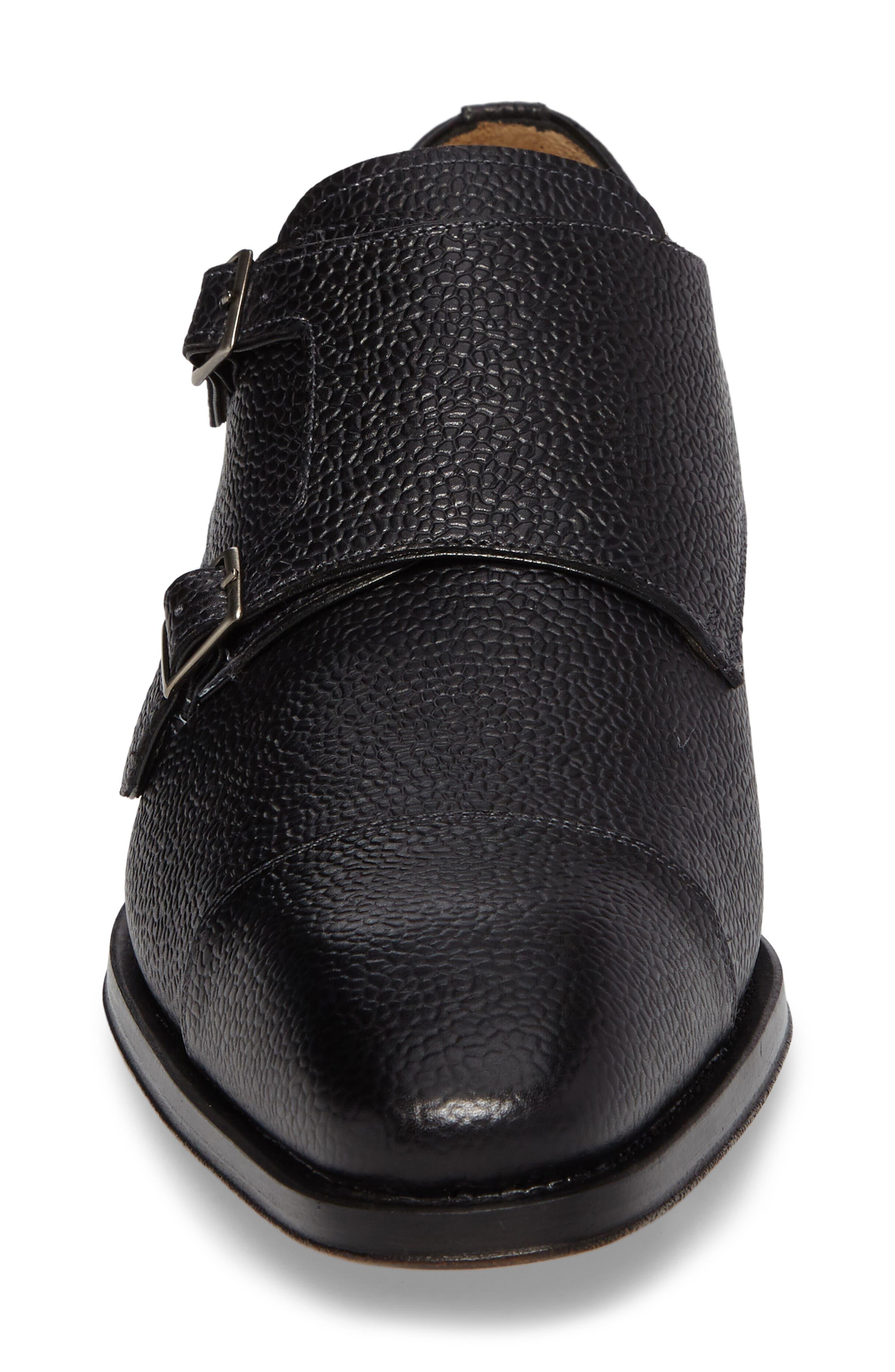 Lubrin Double Monk Strap Shoe,                             Alternate thumbnail 4, color,                             BLACK LEATHER