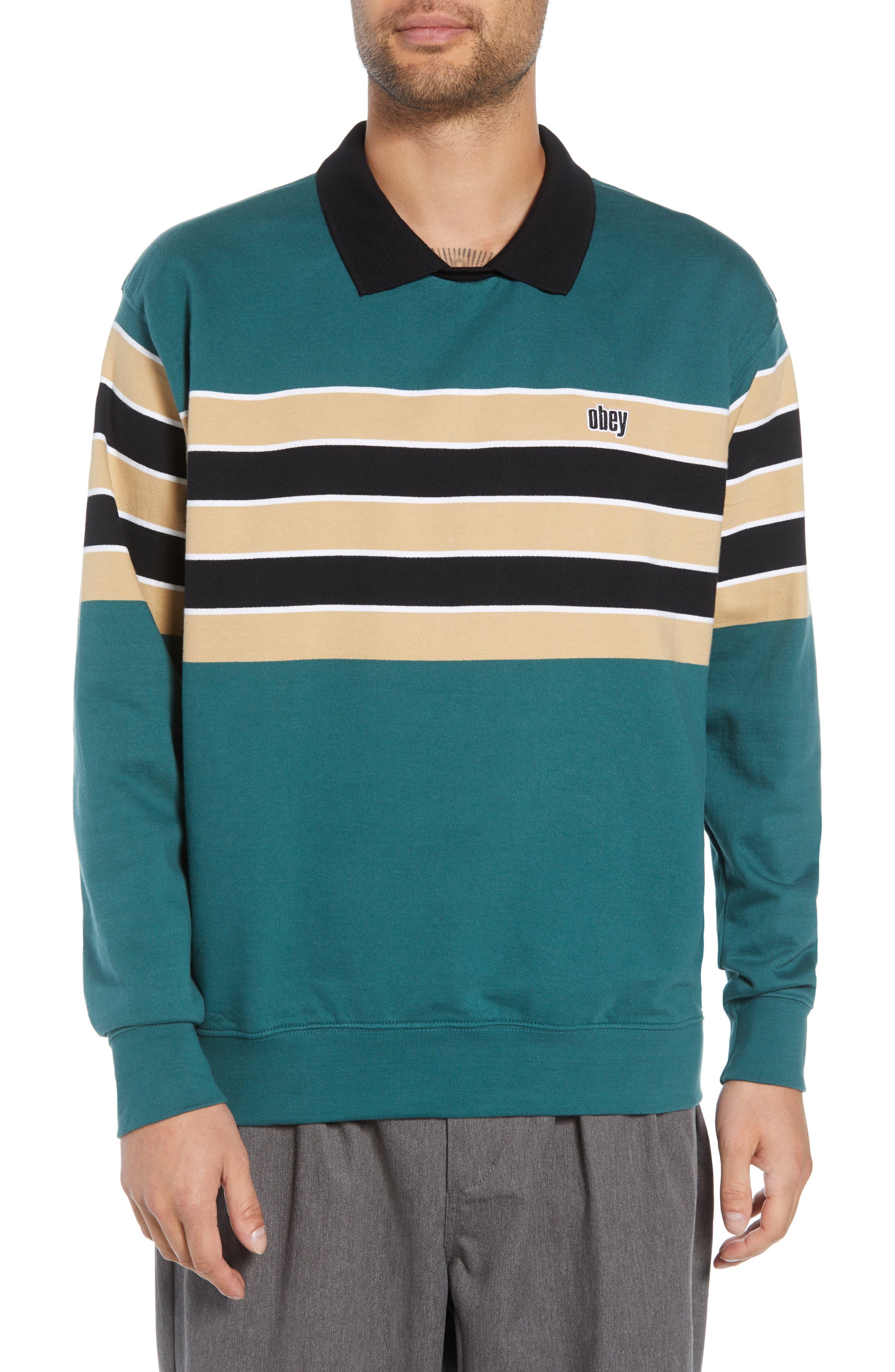 Cupid Striped Polo Collar Sweatshirt,                         Main,                         color, DARK TEAL MULTI
