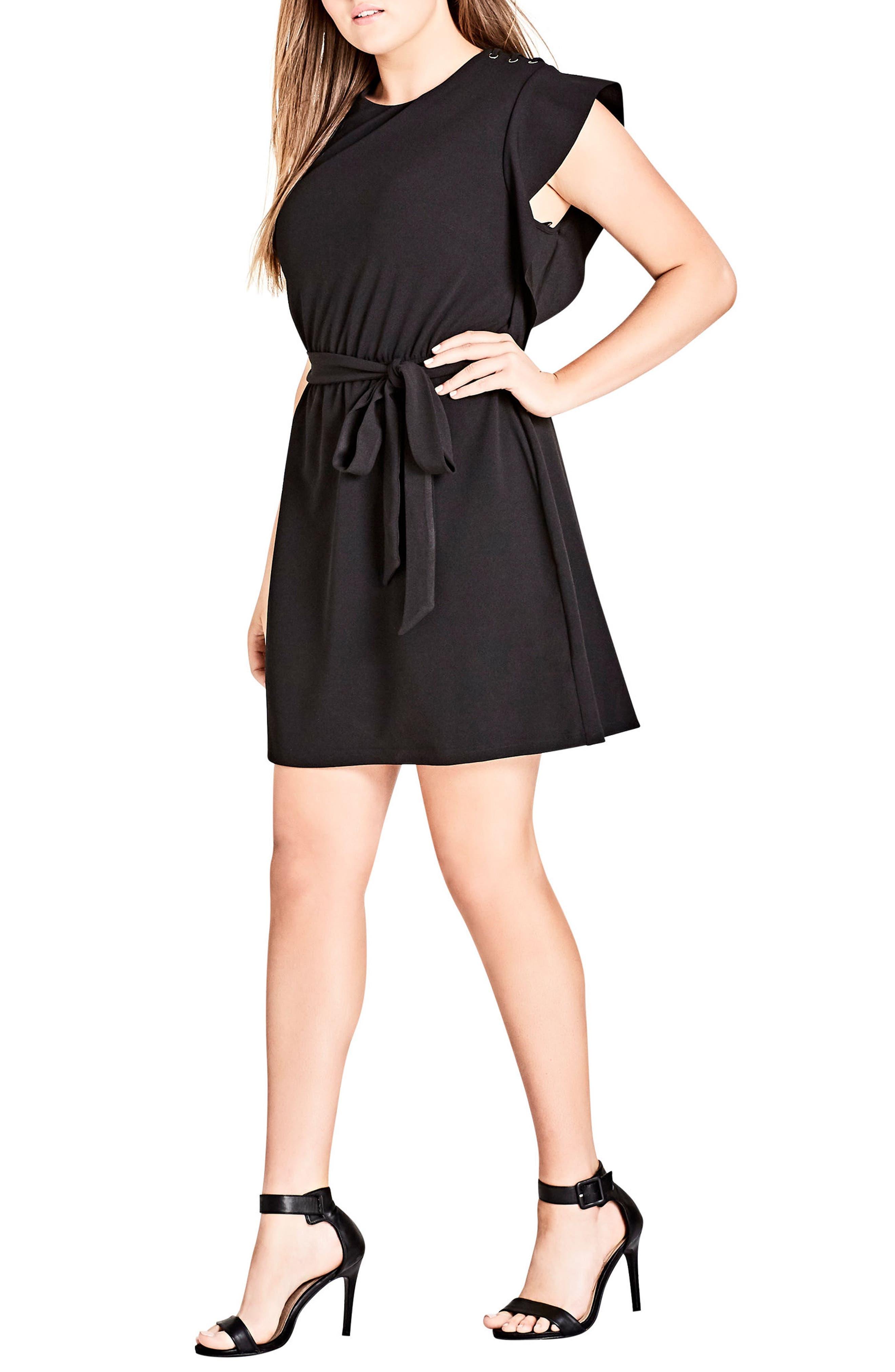 Plus Size City Chic Ring Me Ruffle Tunic Dress, Black