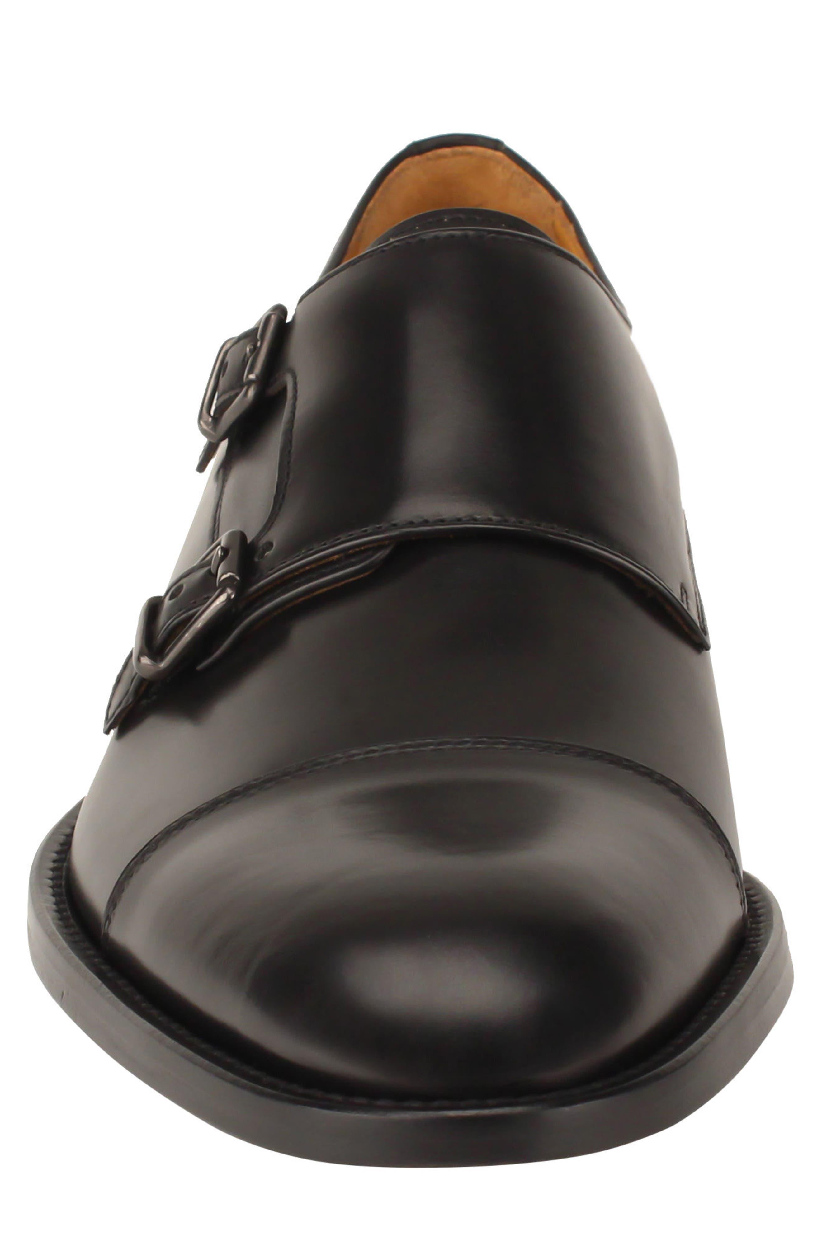 Jay Double Monk Strap Shoe,                             Alternate thumbnail 4, color,                             BLACK LEATHER