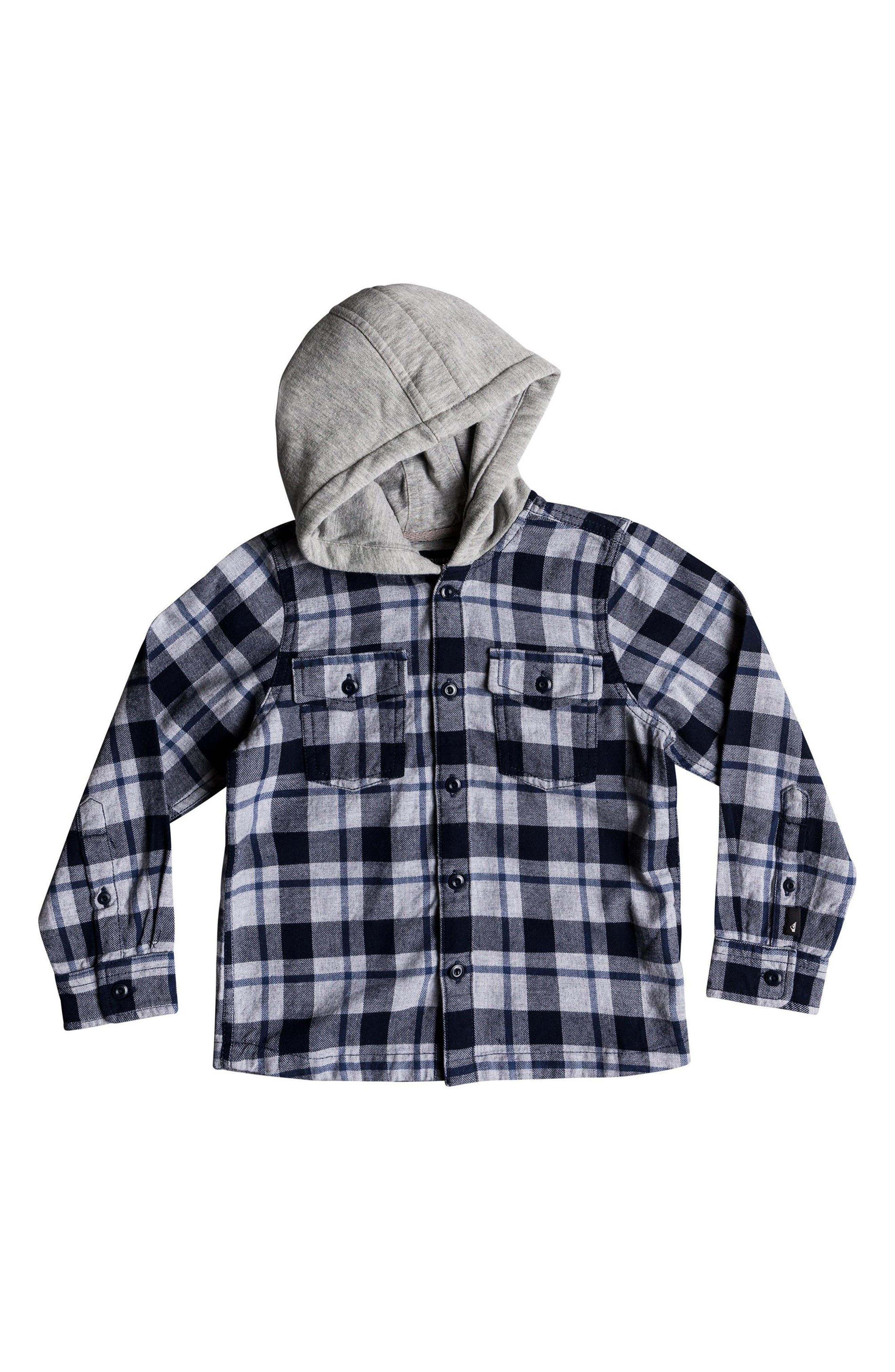 Hooded Flannel Shirt Jacket,                         Main,                         color, NAVY BLAZER
