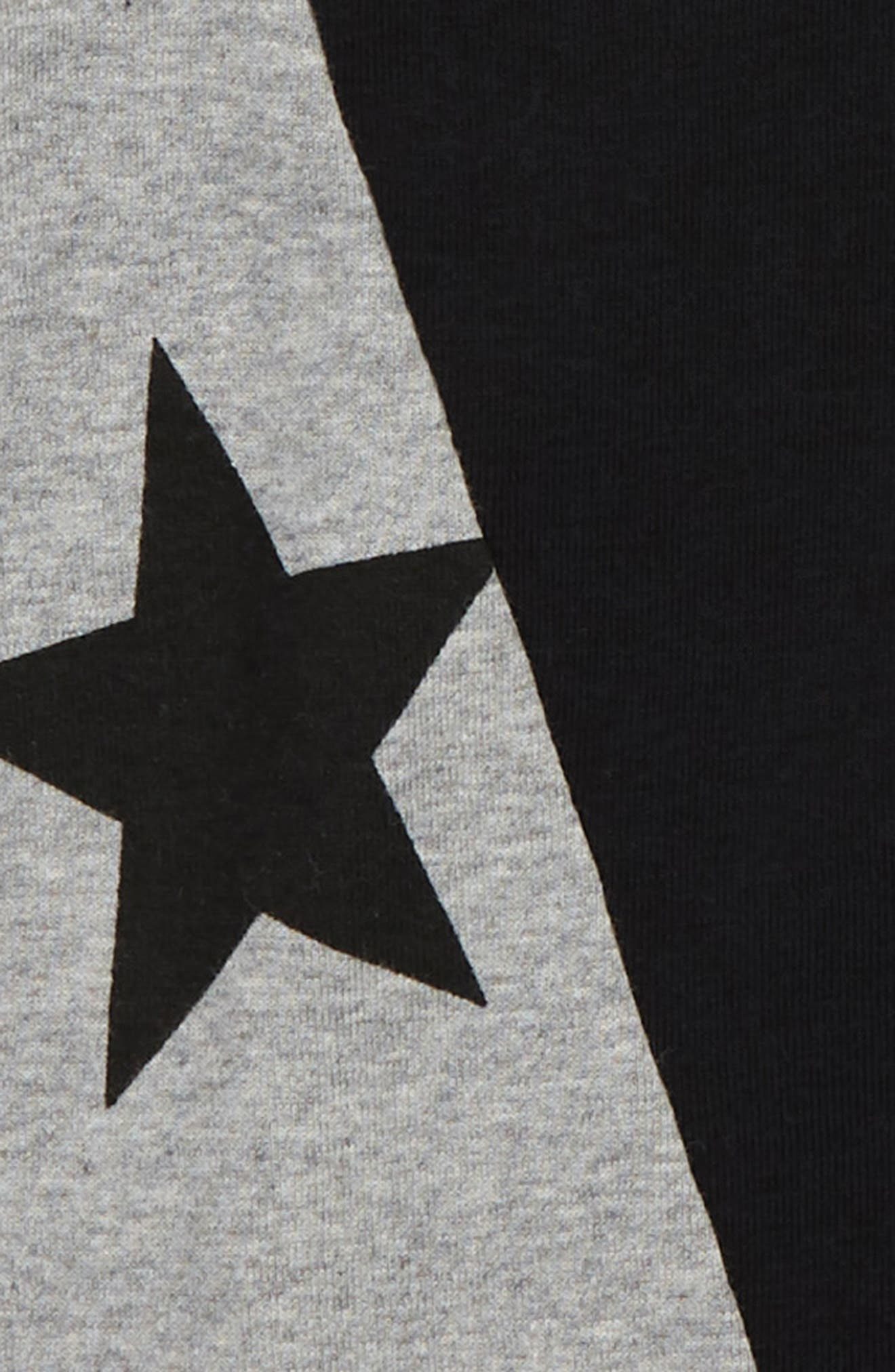 1/2 and 1/2 Star Romper,                             Alternate thumbnail 2, color,                             BLACK/ HEATHER GREY
