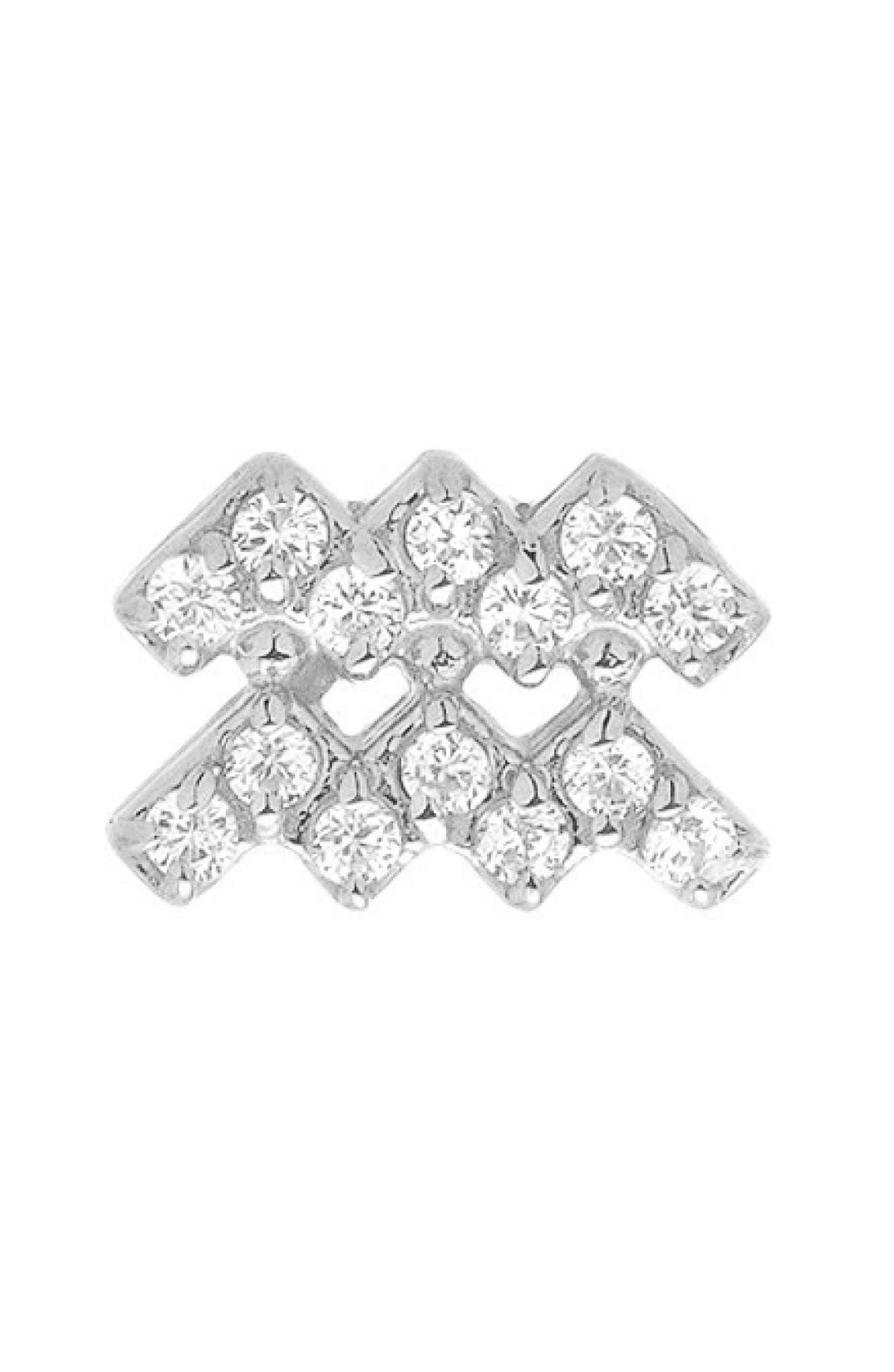 Diamond Zodiac Sign Earring,                             Main thumbnail 1, color,                             WHITE GOLD-AQUARIUS