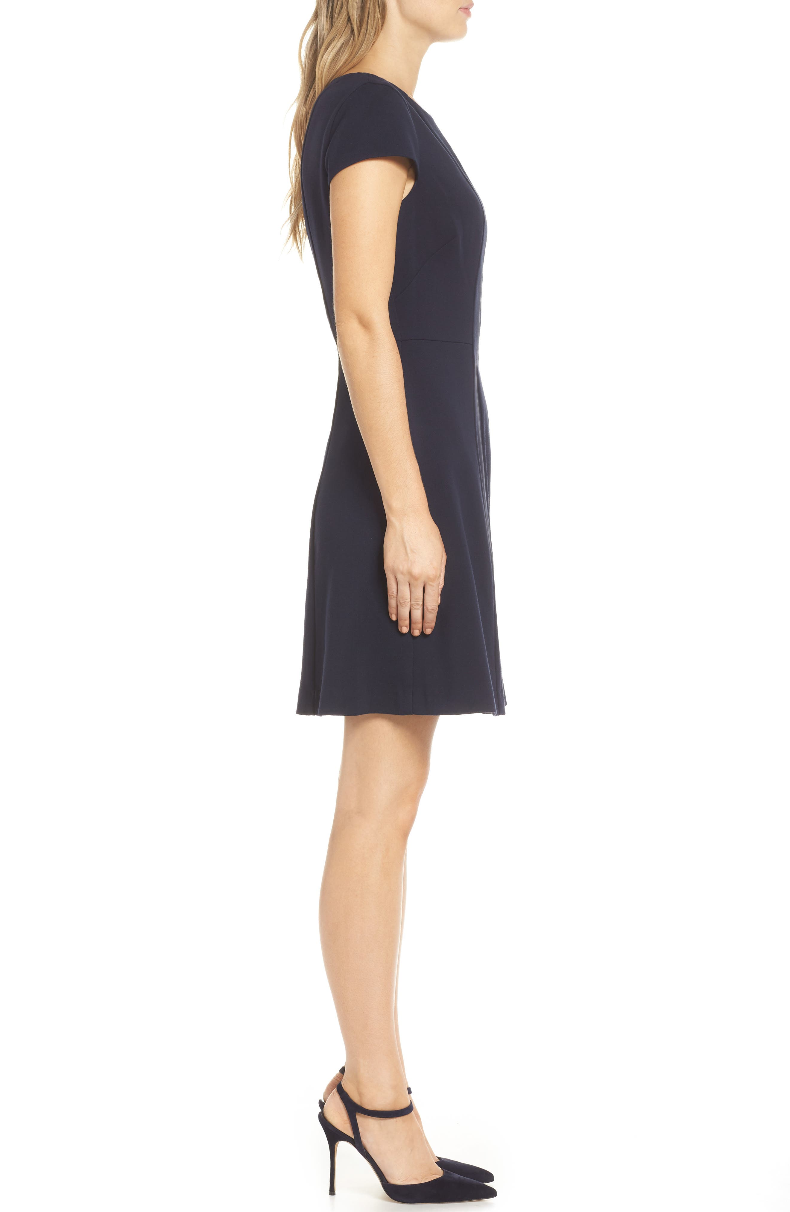 Cap Sleeve Fit & Flare Dress,                             Alternate thumbnail 3, color,                             NAVY