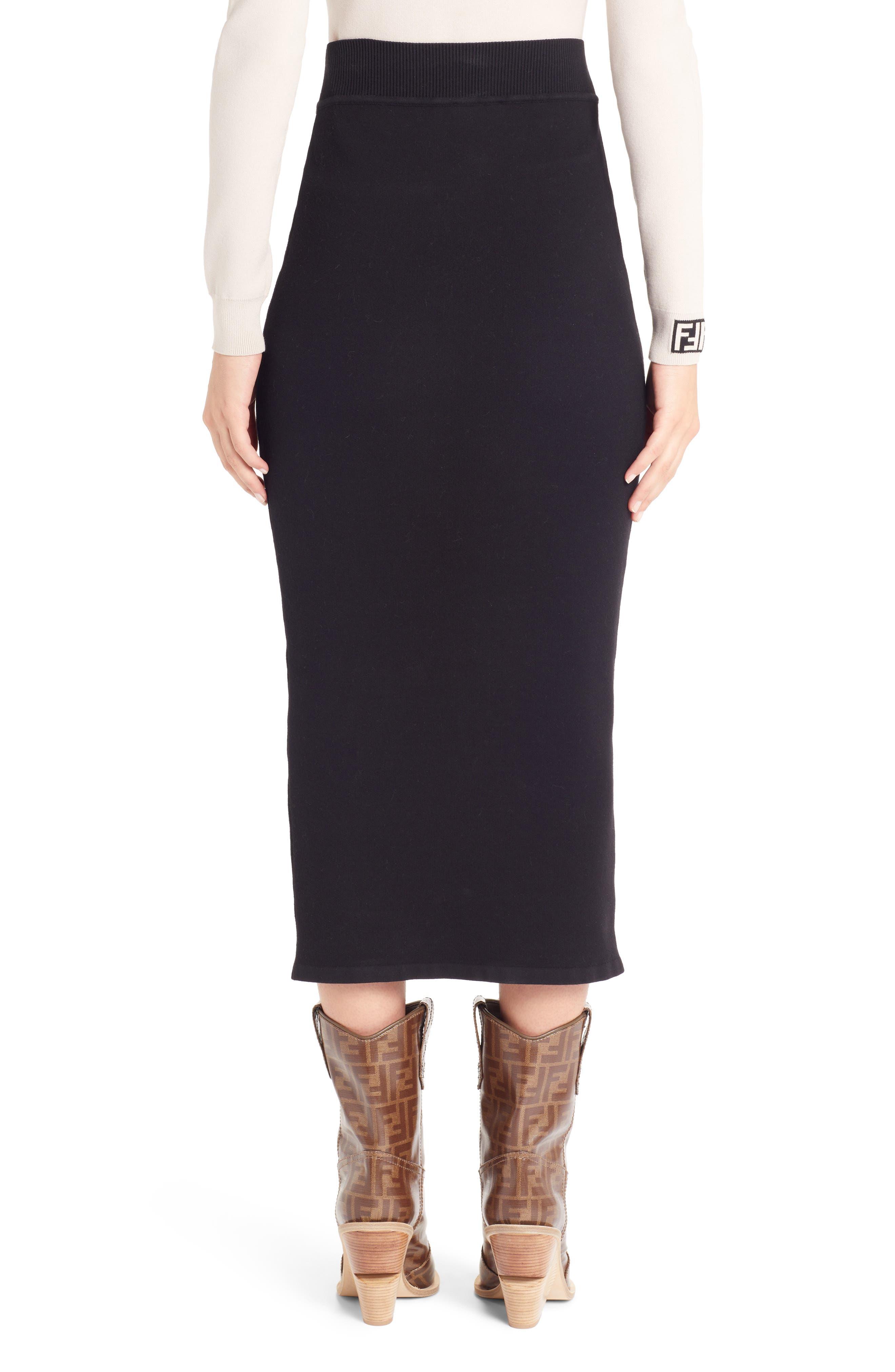 Logo Waist Pencil Skirt,                             Alternate thumbnail 2, color,                             BLACK
