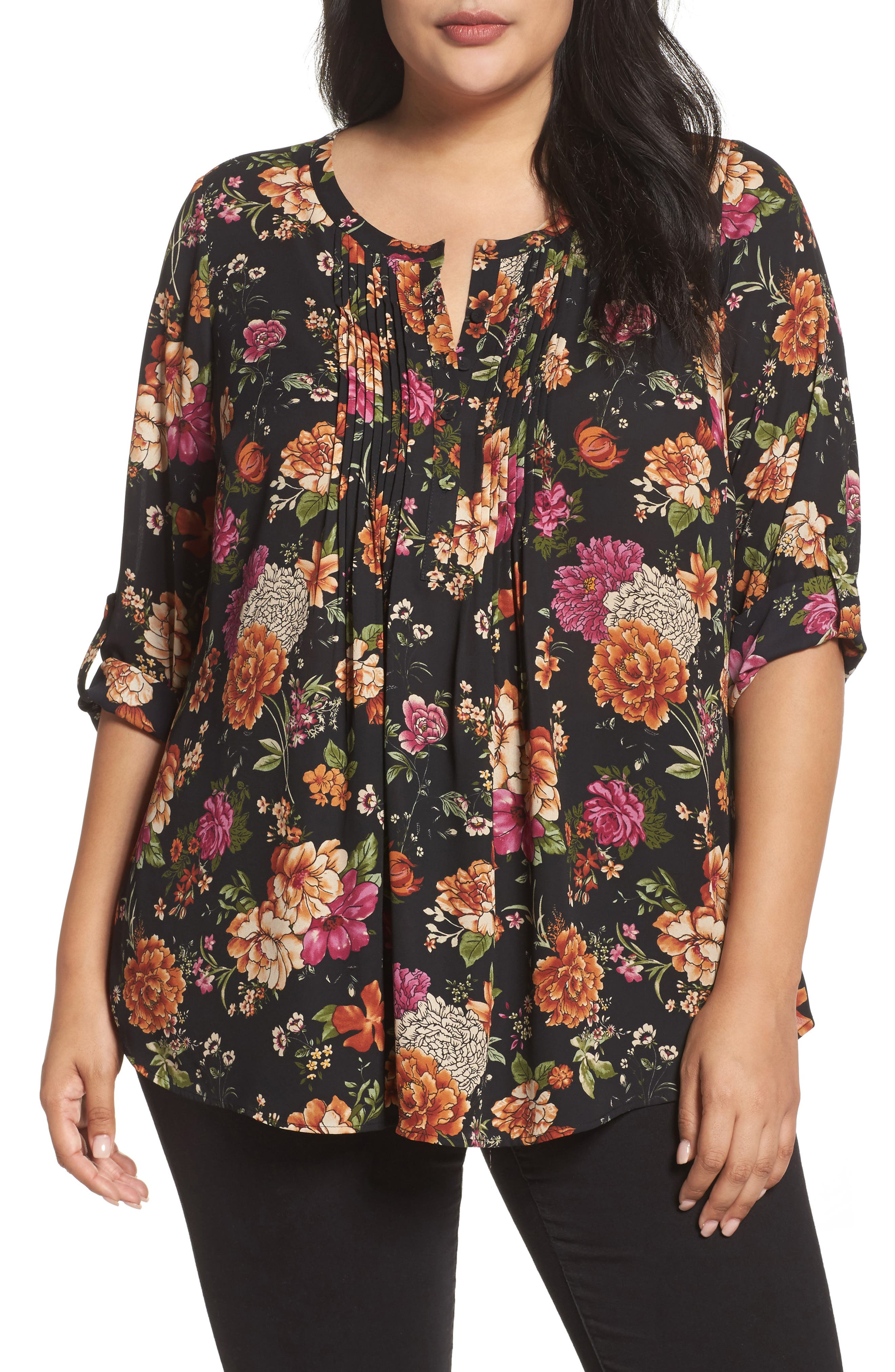 Roll Sleeve Pintuck Blouse,                         Main,                         color, 006