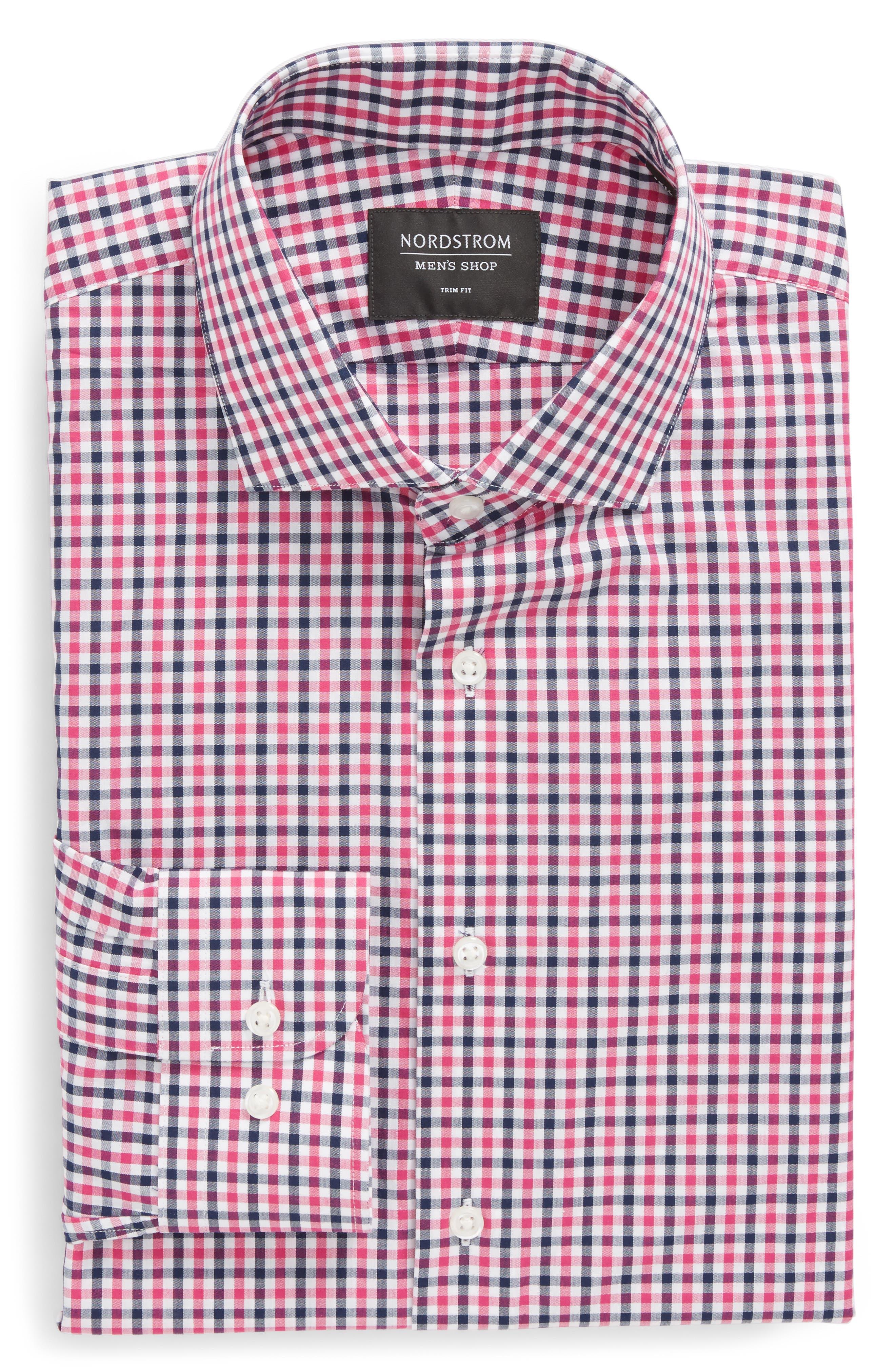 Trim Fit Check Dress Shirt,                             Alternate thumbnail 14, color,