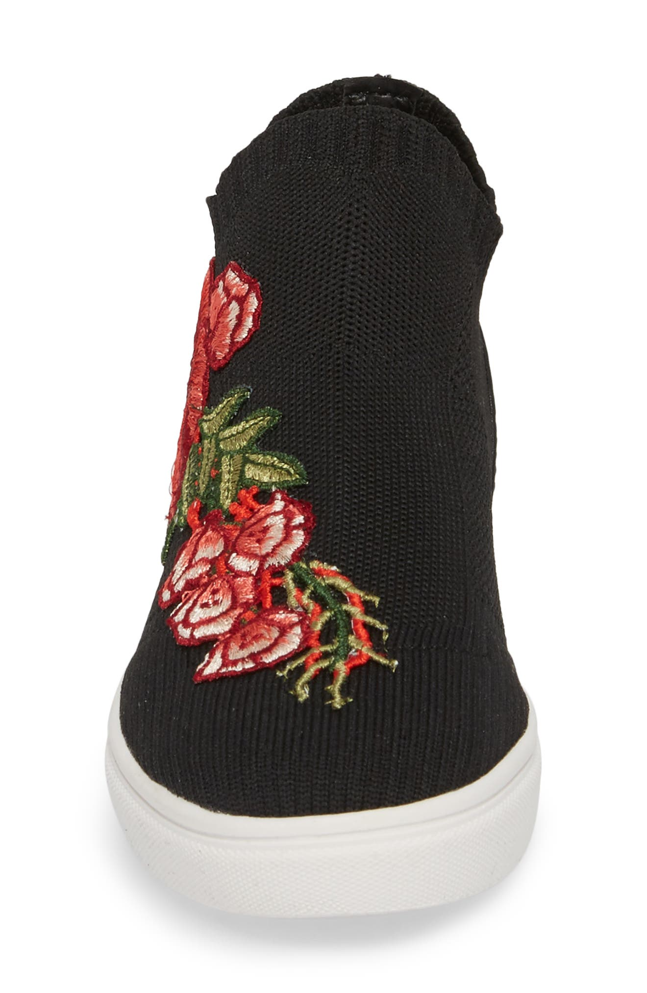 July Embroidered Knit Bootie,                             Alternate thumbnail 4, color,                             001