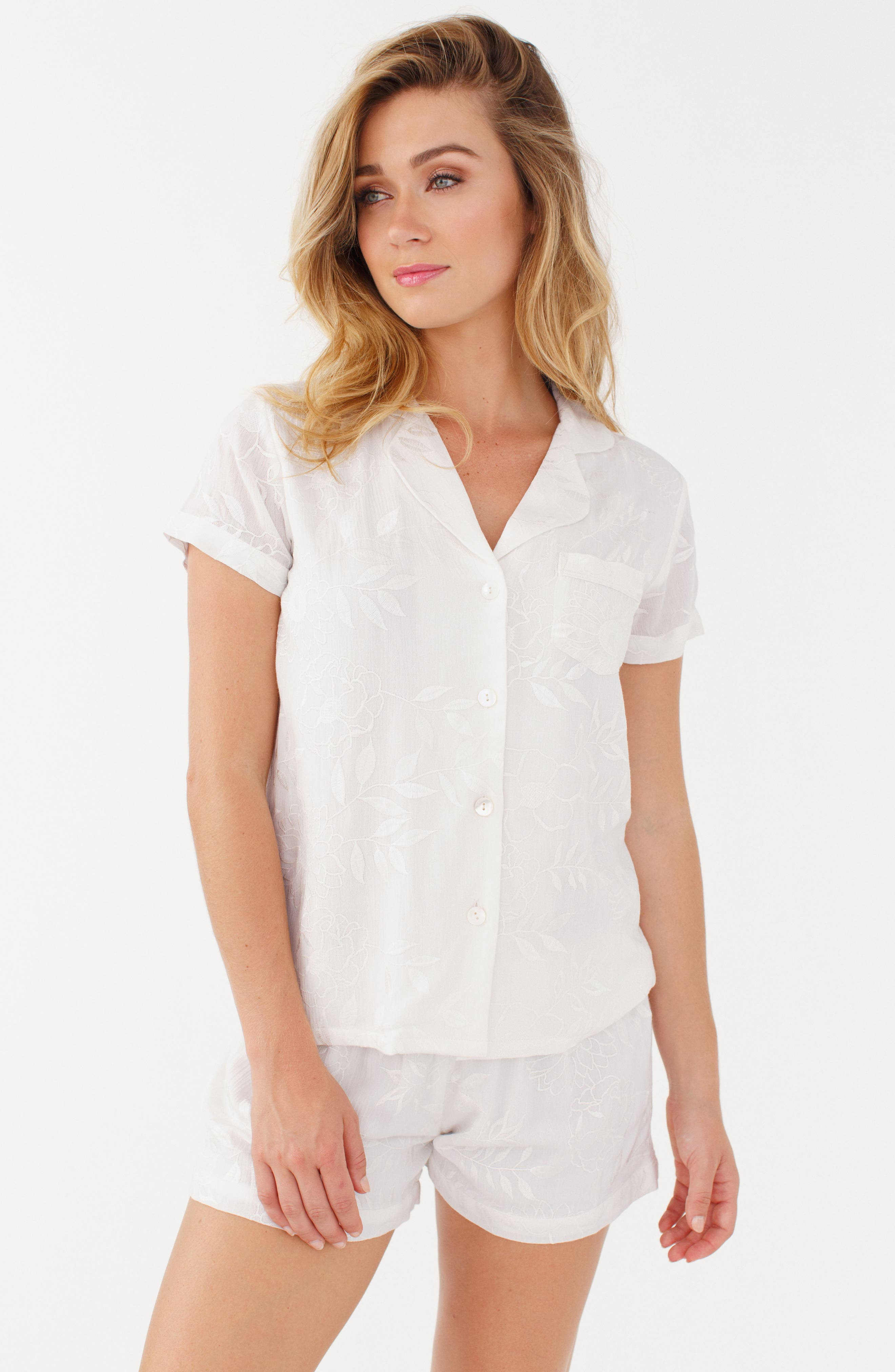 Embroidered Short Pajamas,                             Alternate thumbnail 3, color,
