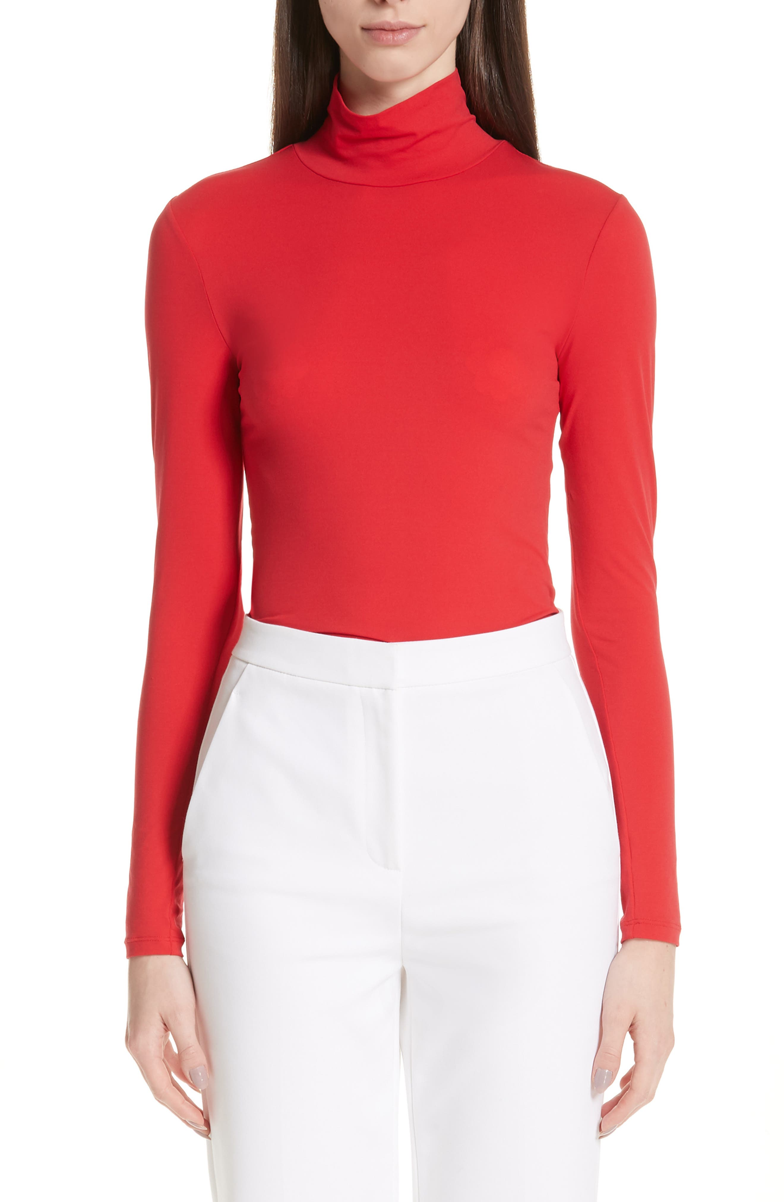 ST. JOHN COLLECTION,                             Nuda Fine Jersey Turtleneck Shell,                             Main thumbnail 1, color,                             CRIMSON