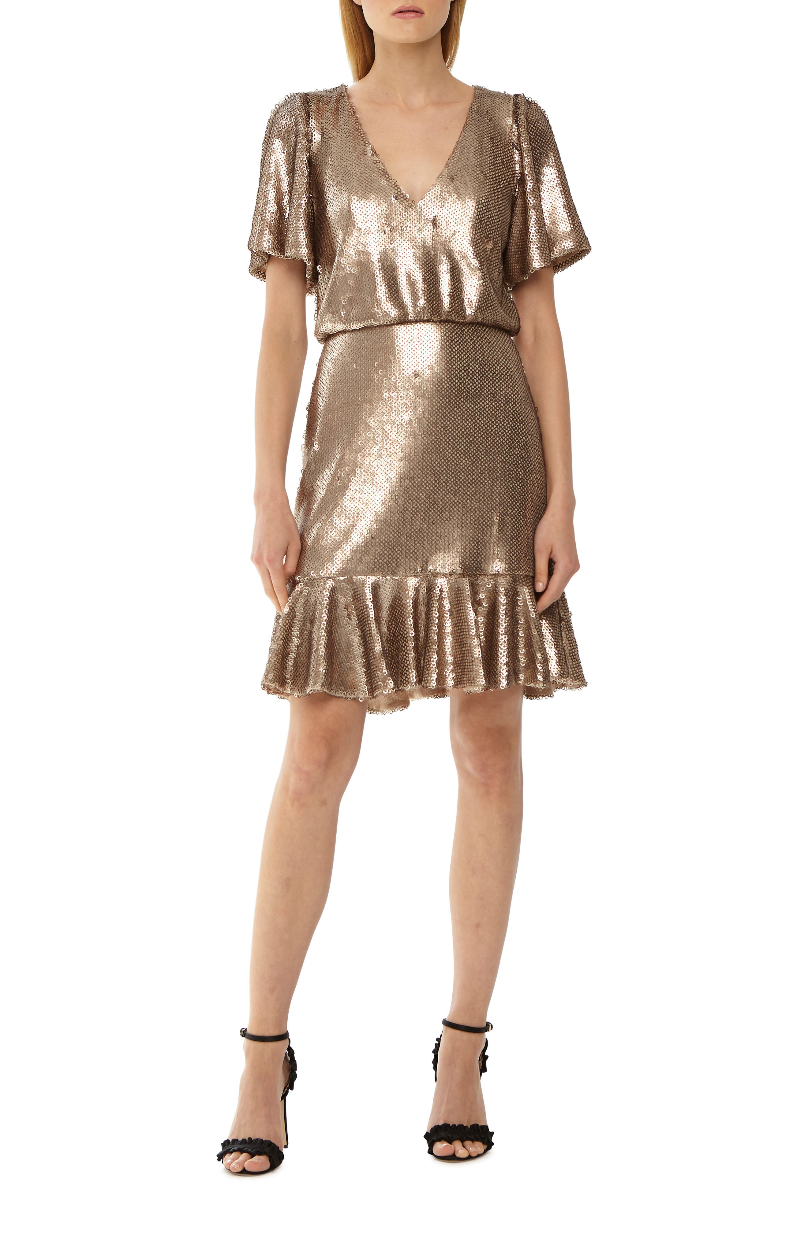Sequin Cocktail Dress,                             Main thumbnail 1, color,                             GOLD