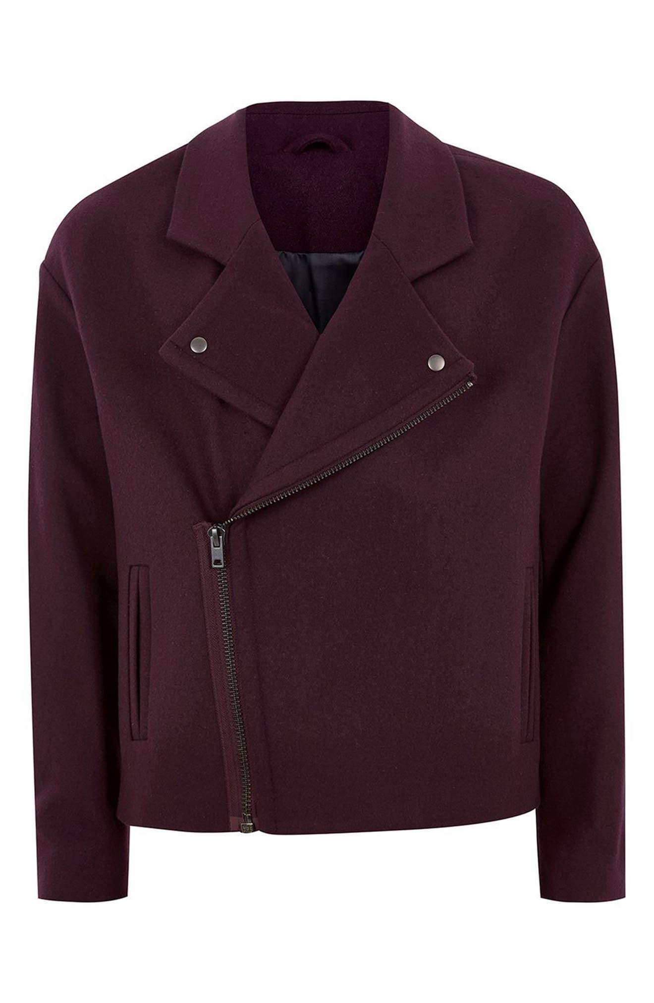 Wool Blend Biker Jacket,                             Alternate thumbnail 4, color,                             930