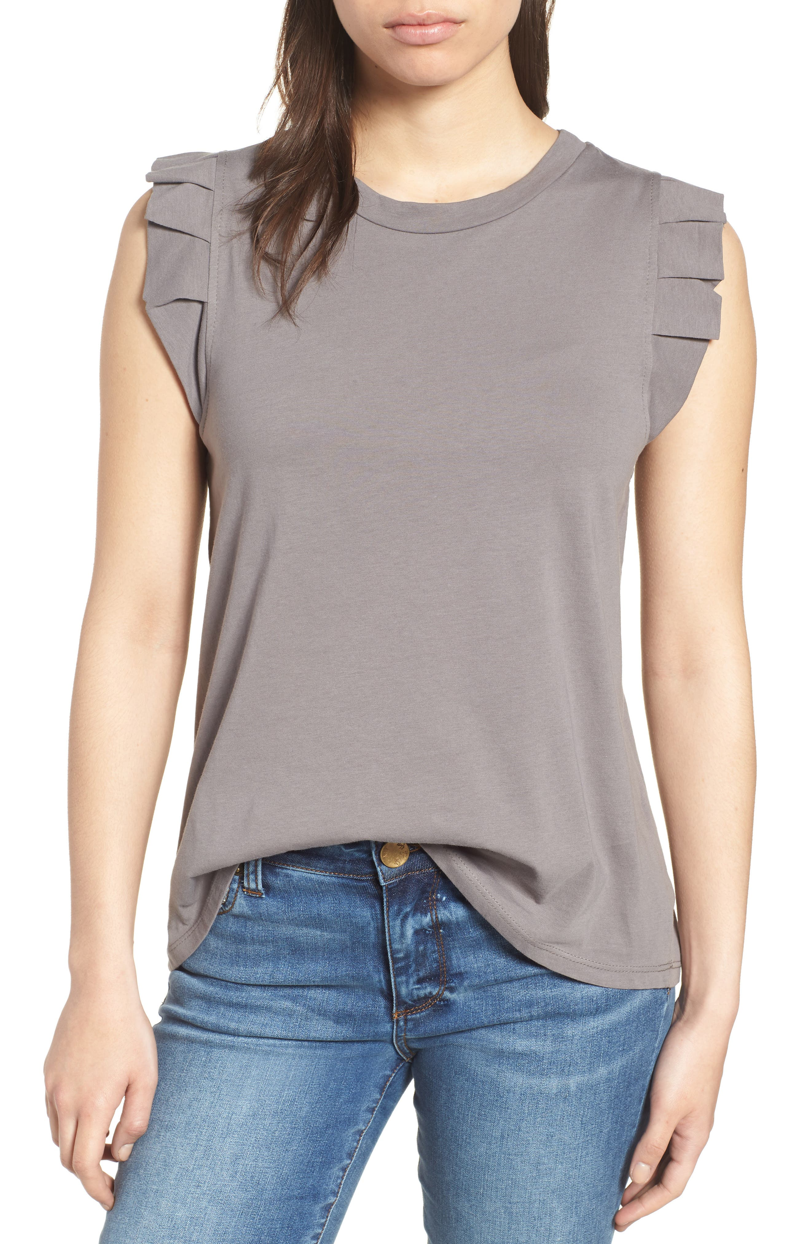 Pleat Ruffle Trim Tank,                             Main thumbnail 1, color,                             001