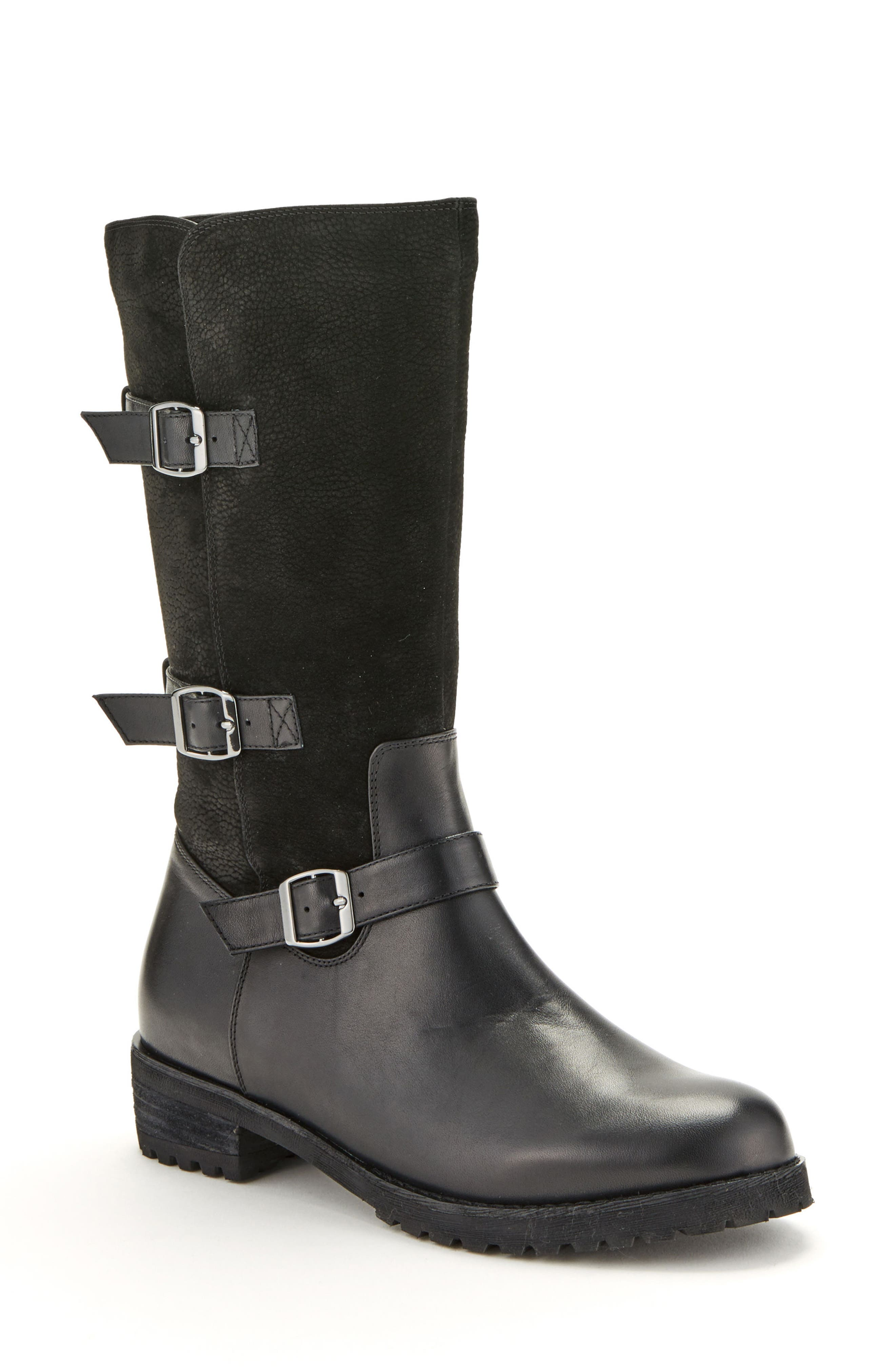 Lenie Waterproof Moto Boot,                             Main thumbnail 1, color,                             BLACK LEATHER