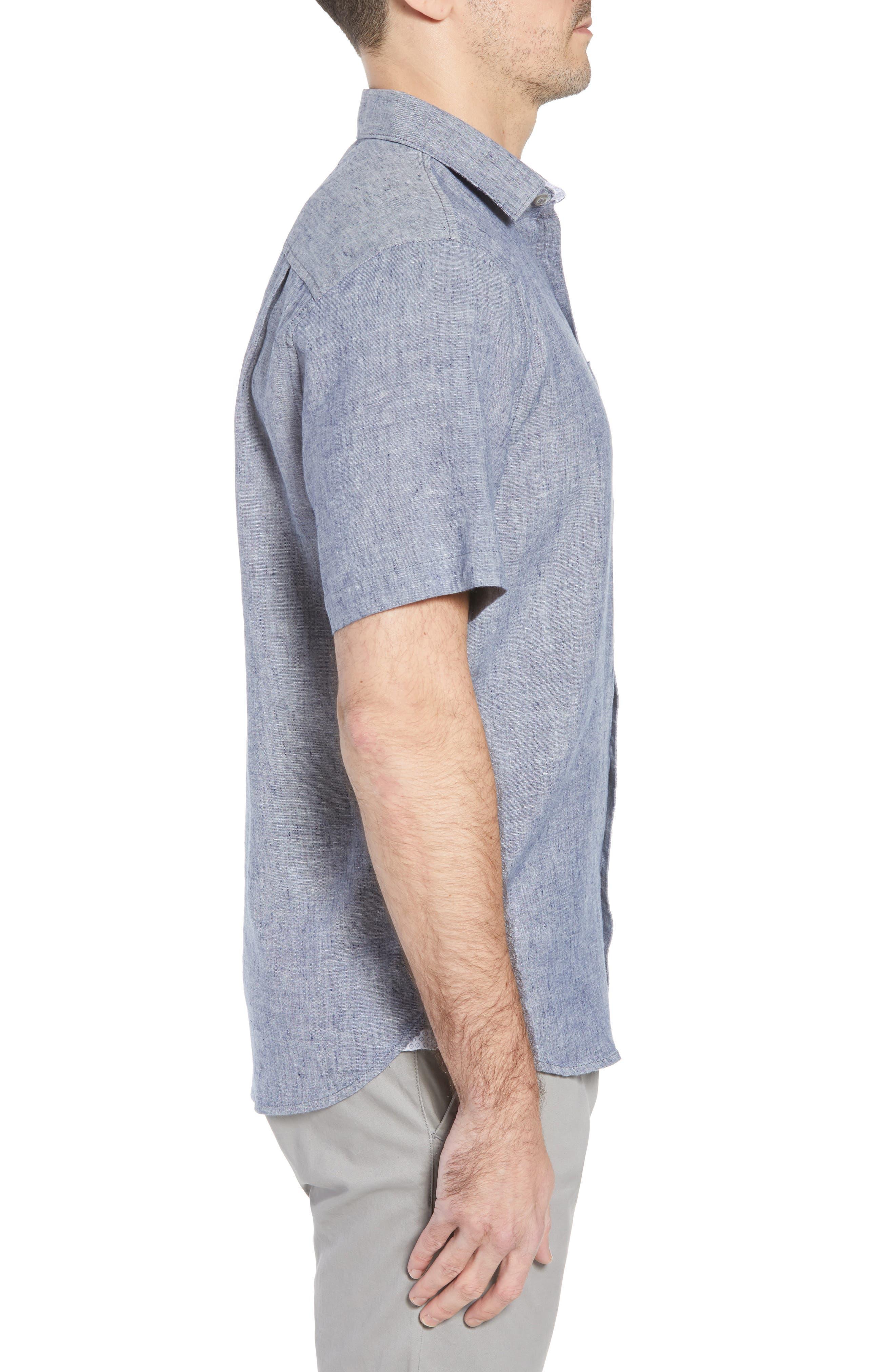 Lanai Tides Linen Blend Sport Shirt,                             Alternate thumbnail 3, color,                             THRONE BLUE