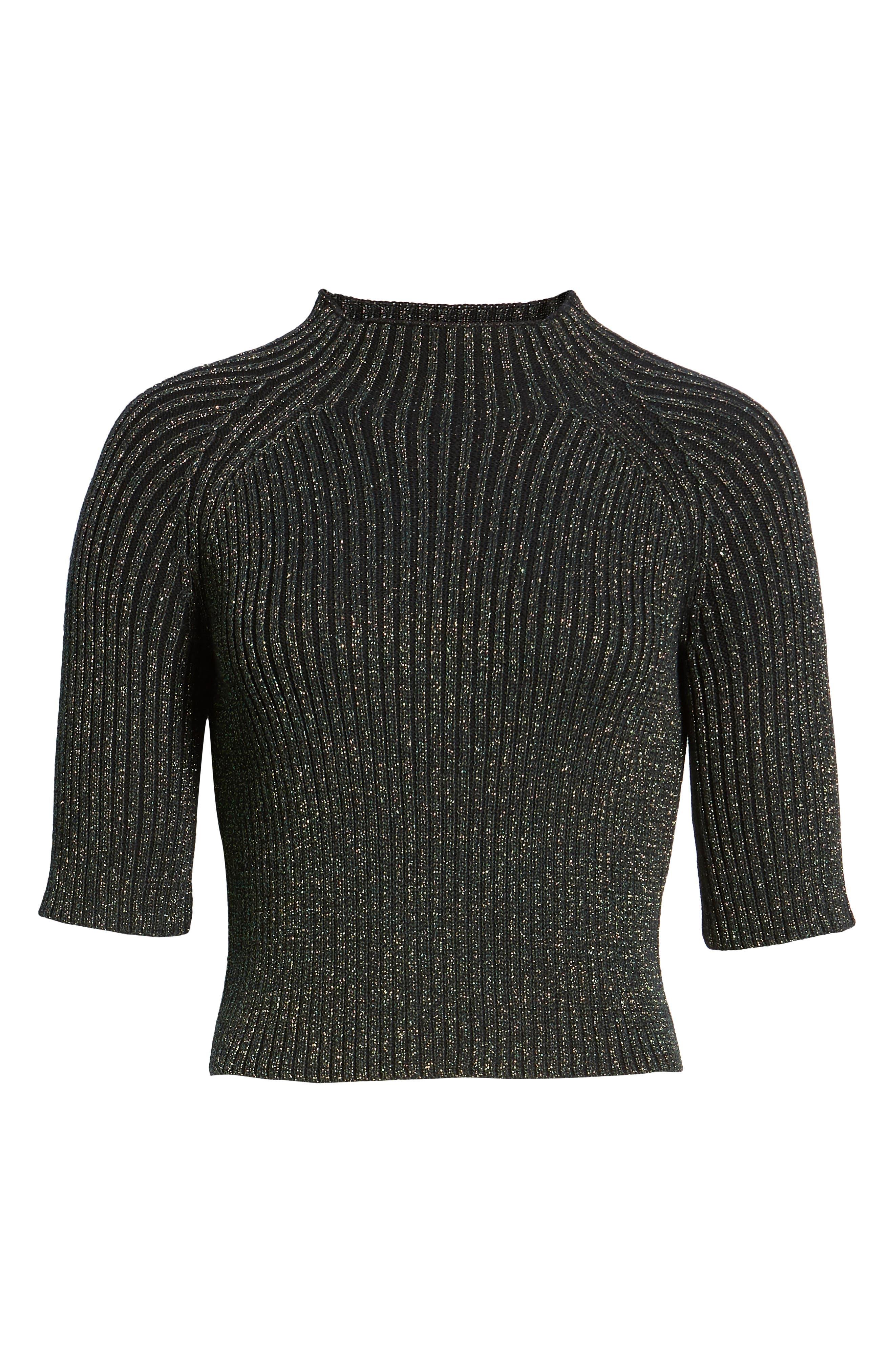 Sparkle Crop Sweater,                             Alternate thumbnail 6, color,                             GREEN BOTANICAL METALLIC