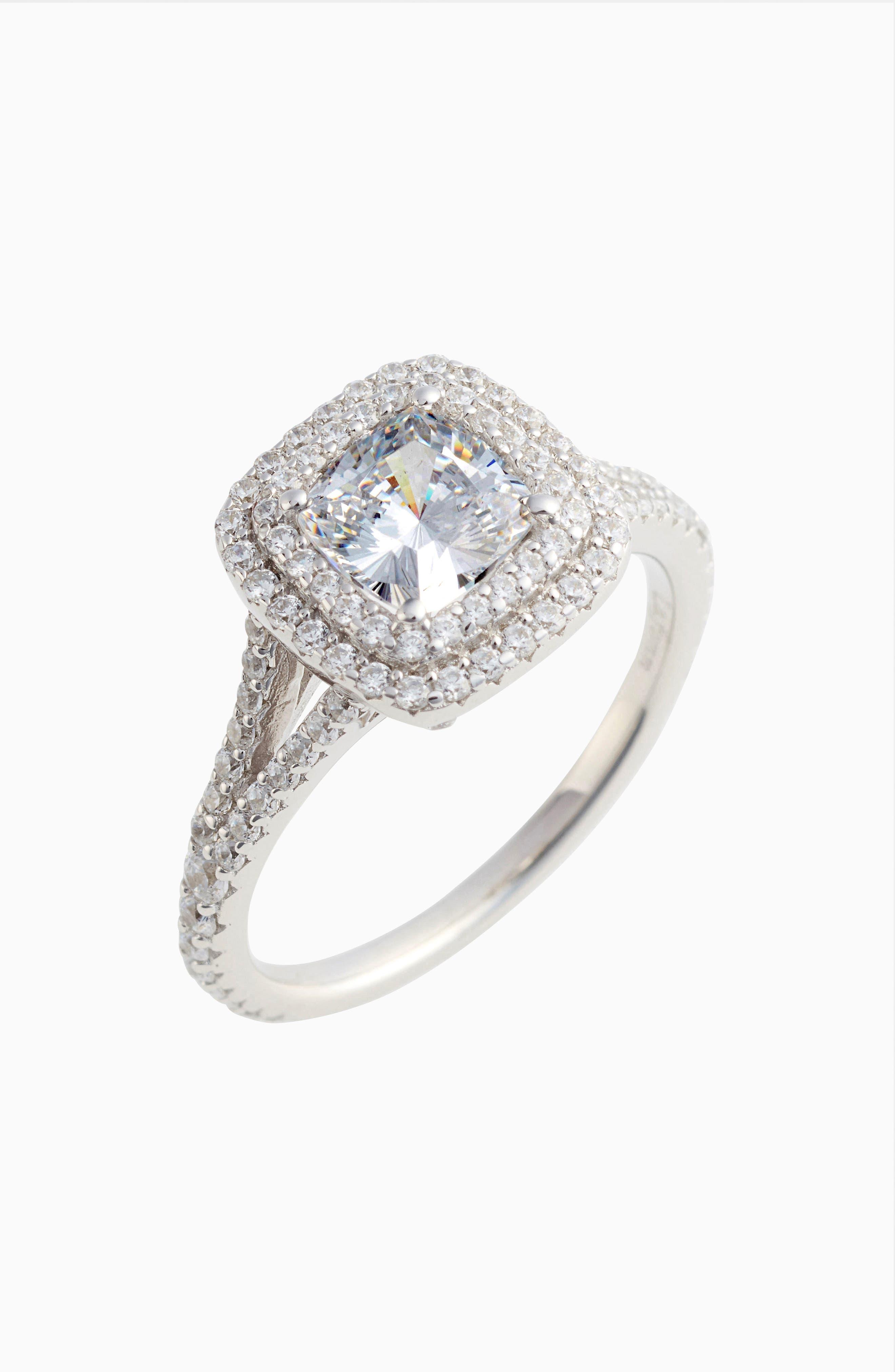 Double Halo Simulated Diamond Ring,                             Main thumbnail 1, color,                             040