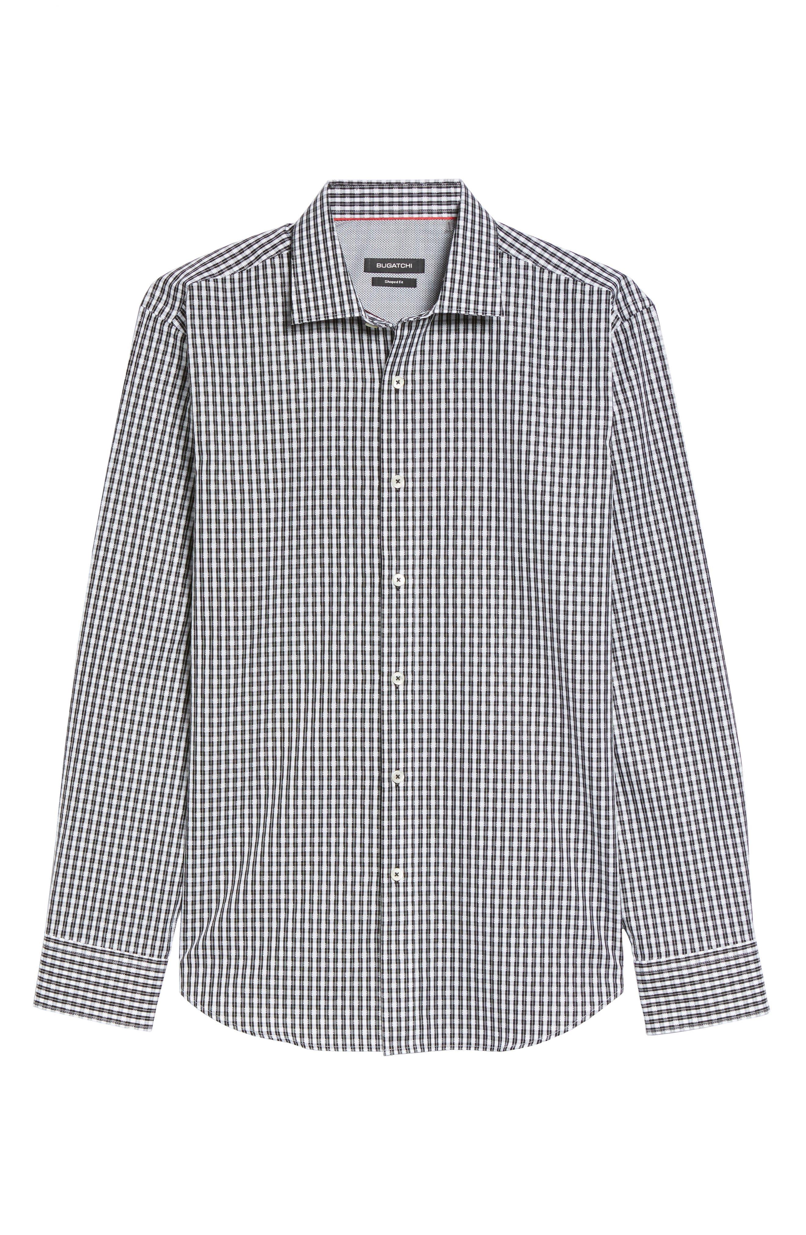 Shaped Fit Plaid Sport Shirt,                             Alternate thumbnail 6, color,                             001