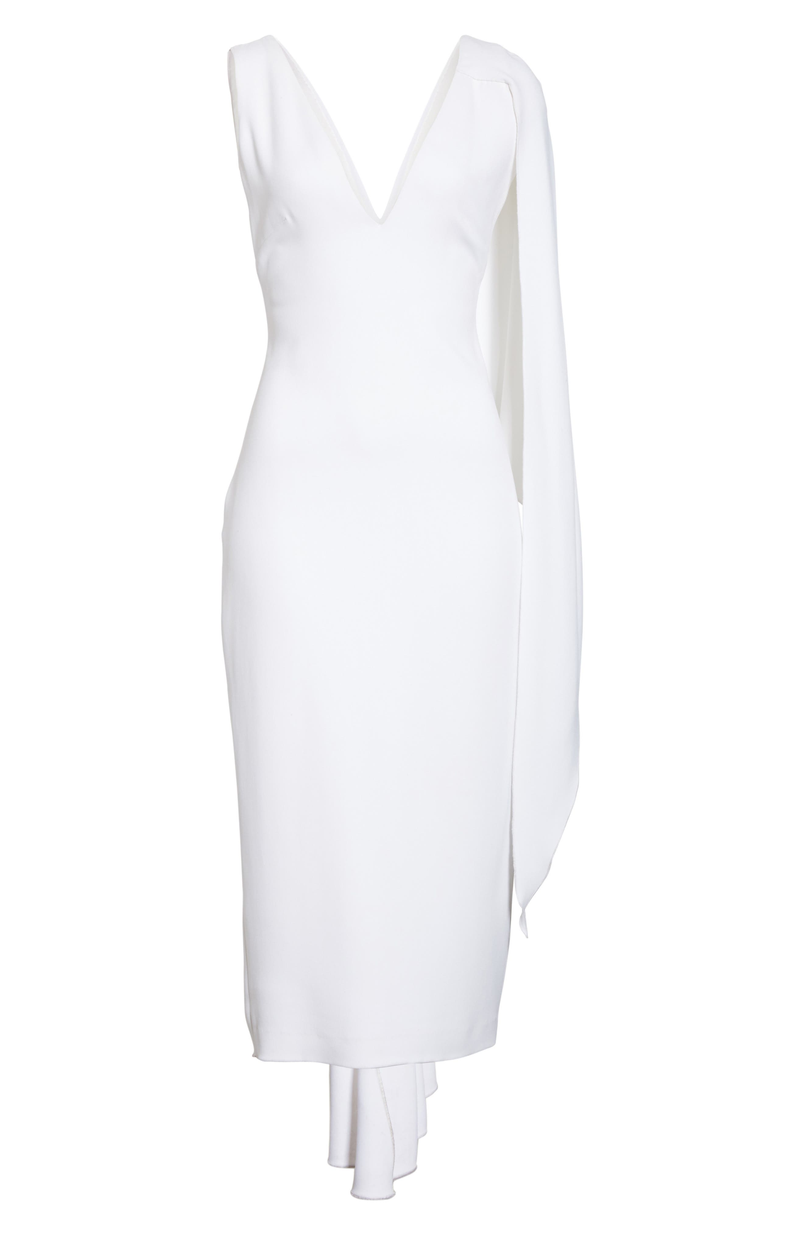 Leta Drape Dress,                             Alternate thumbnail 7, color,                             WHITE