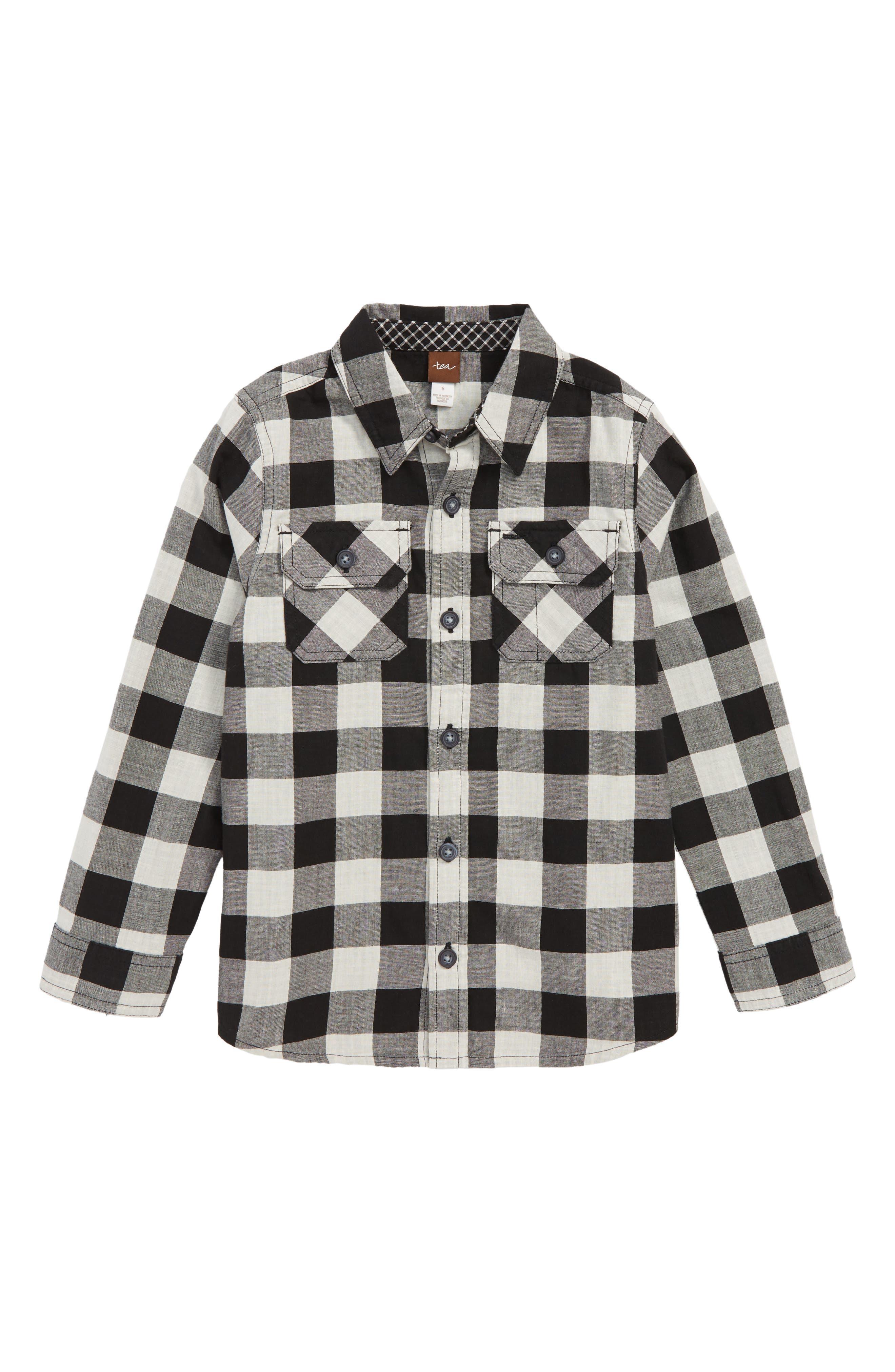 Double Weave Plaid Shirt,                         Main,                         color, 001