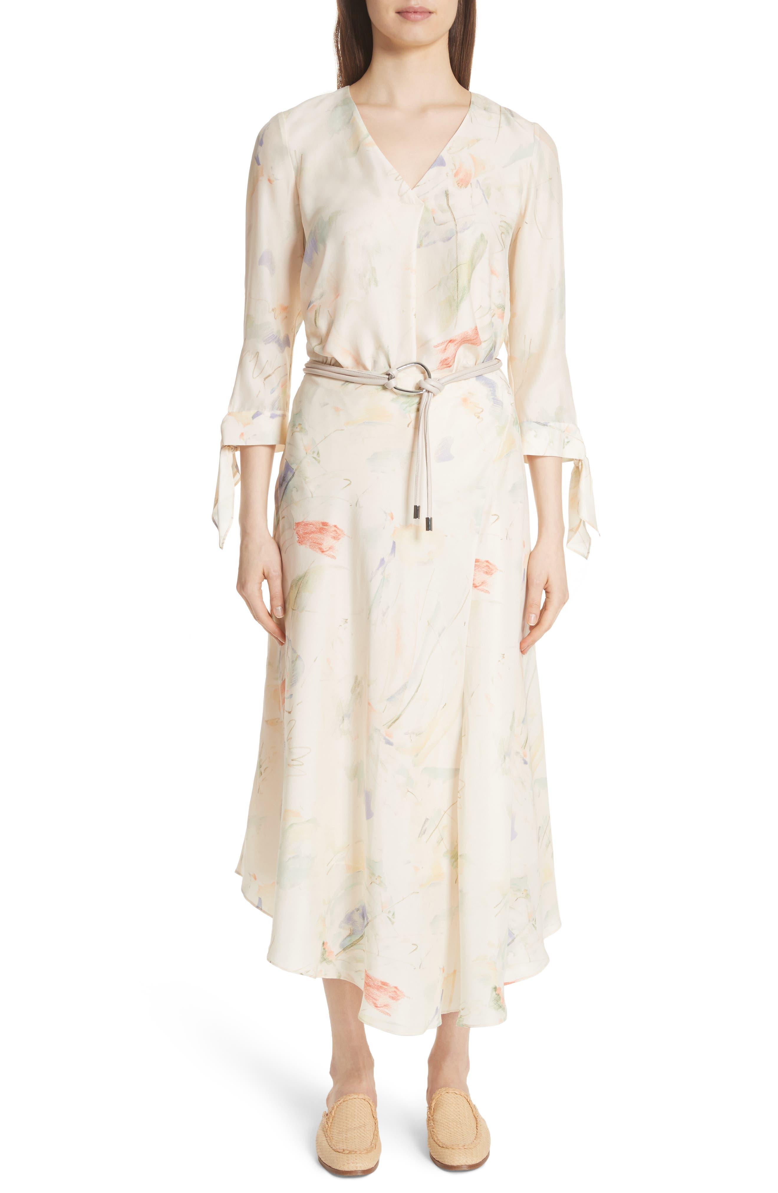 Dessie Modern Muse Print Silk Midi Skirt,                             Alternate thumbnail 7, color,