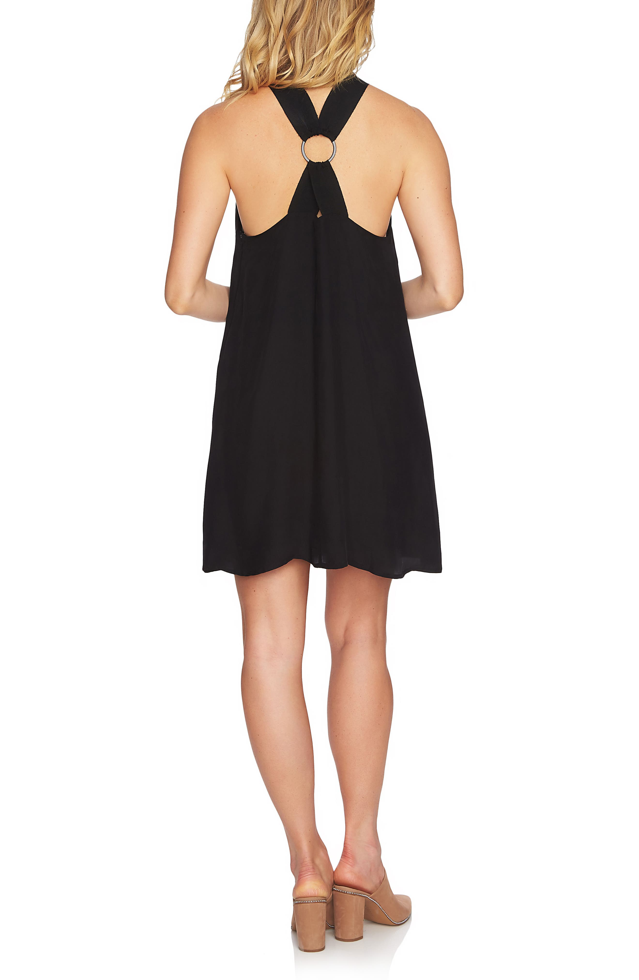 Mock Neck Shift Dress,                             Alternate thumbnail 2, color,                             RICH BLACK