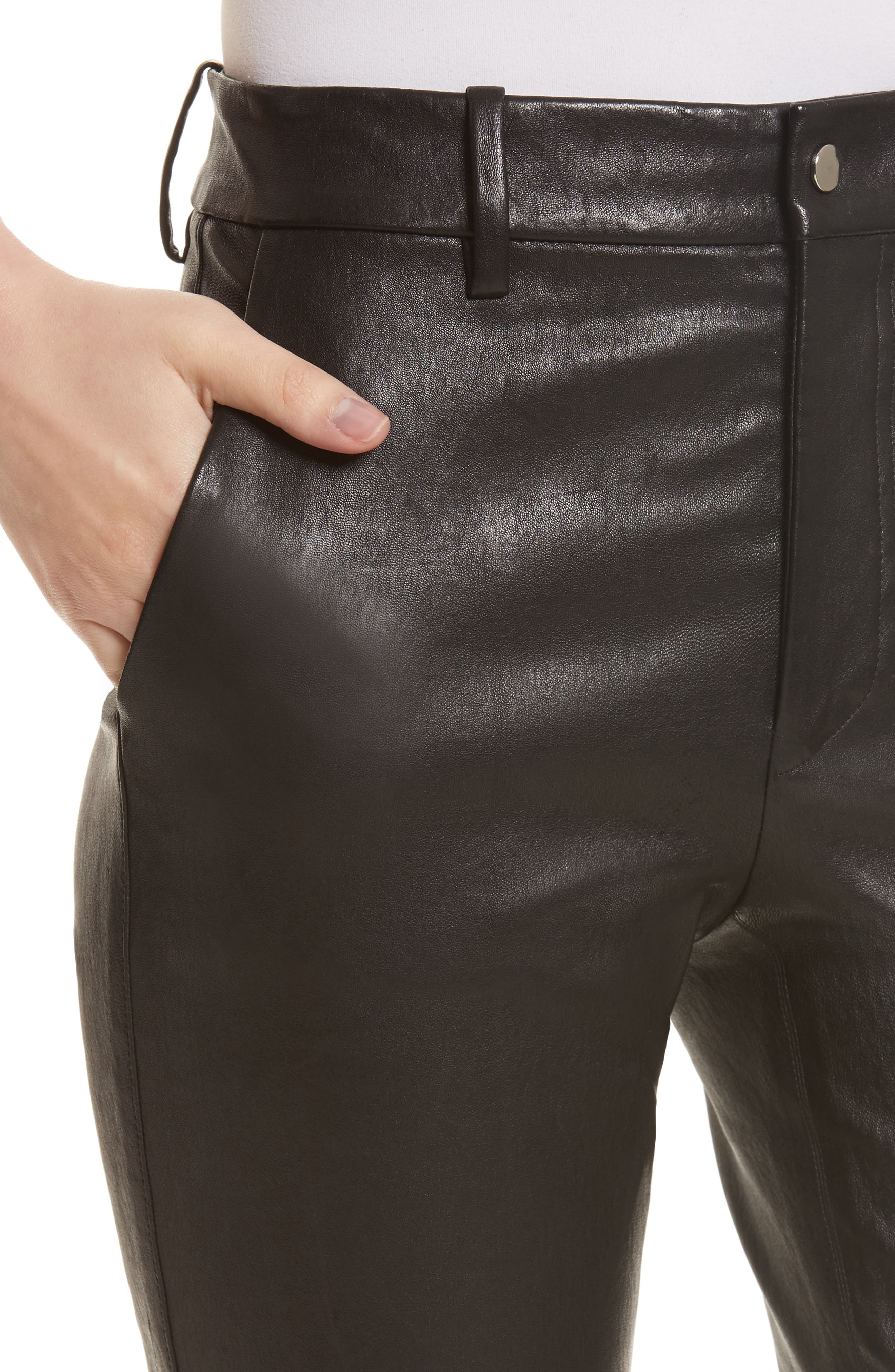 Stretch Leather Flare Pants,                             Alternate thumbnail 4, color,                             001