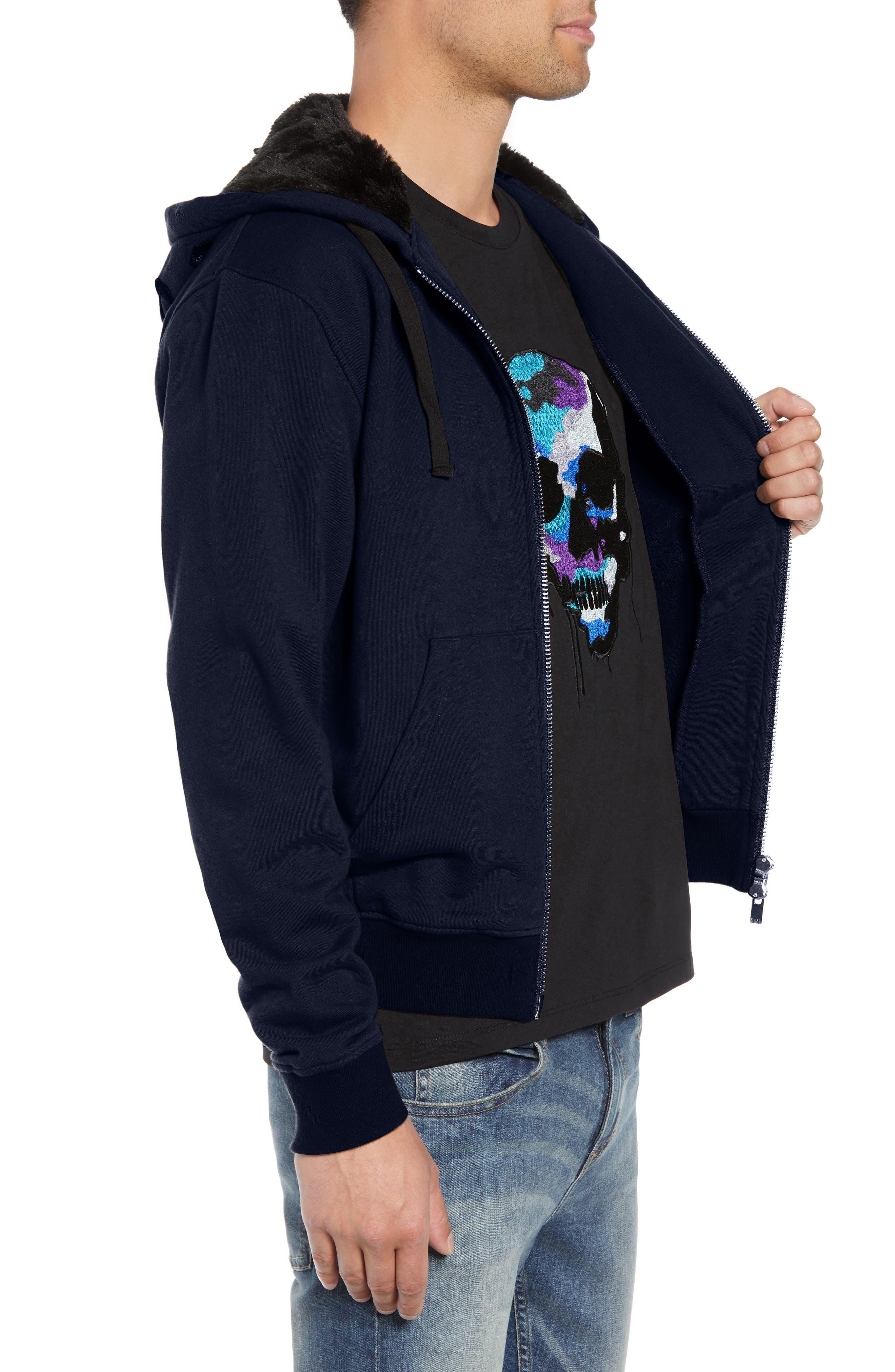 Destroyed Regular Fit Zip Hoodie with Faux Fur Trim,                             Alternate thumbnail 3, color,                             NAVY