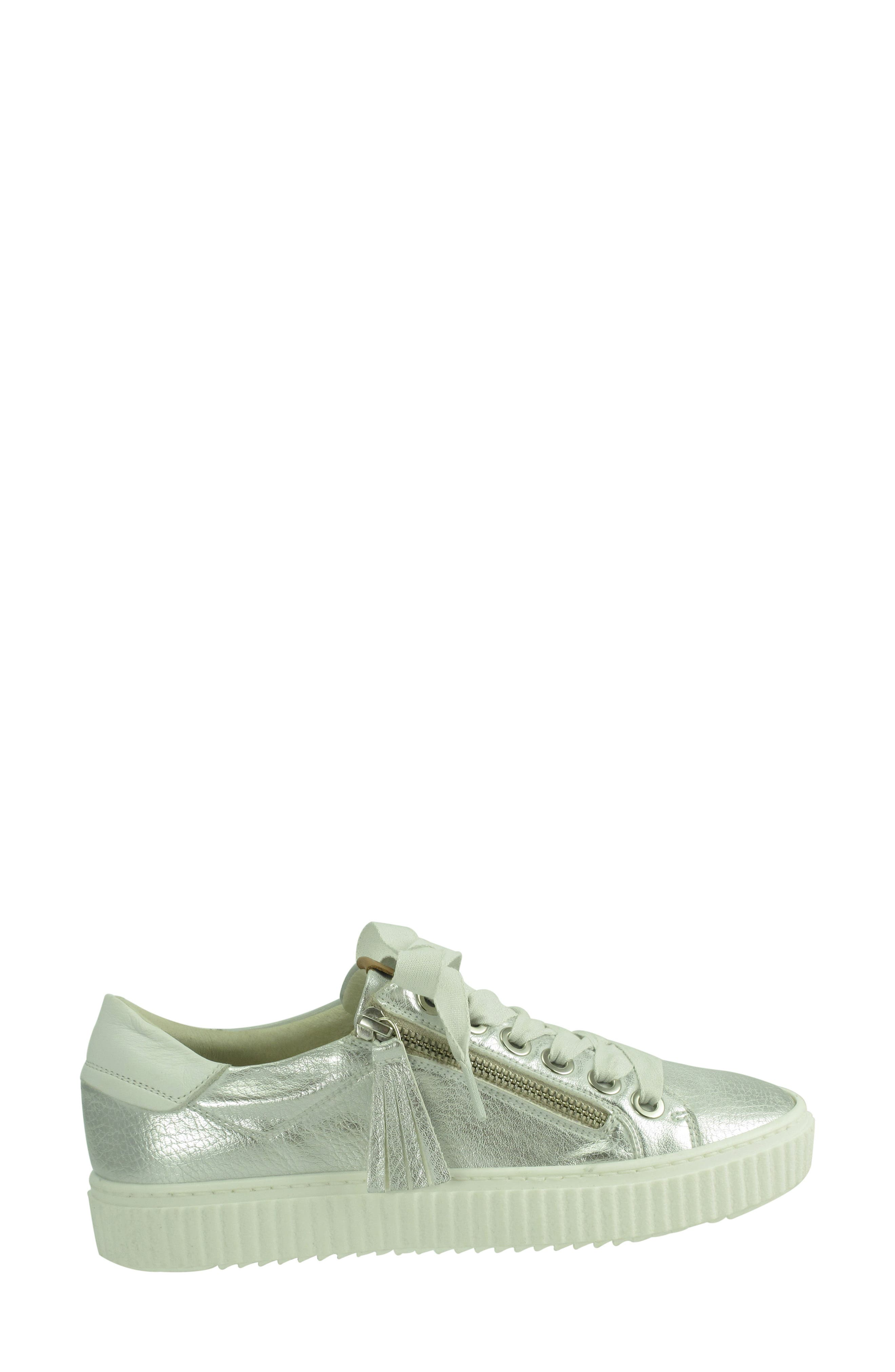 Posey Sneaker,                             Alternate thumbnail 3, color,                             SILVER LEATHER