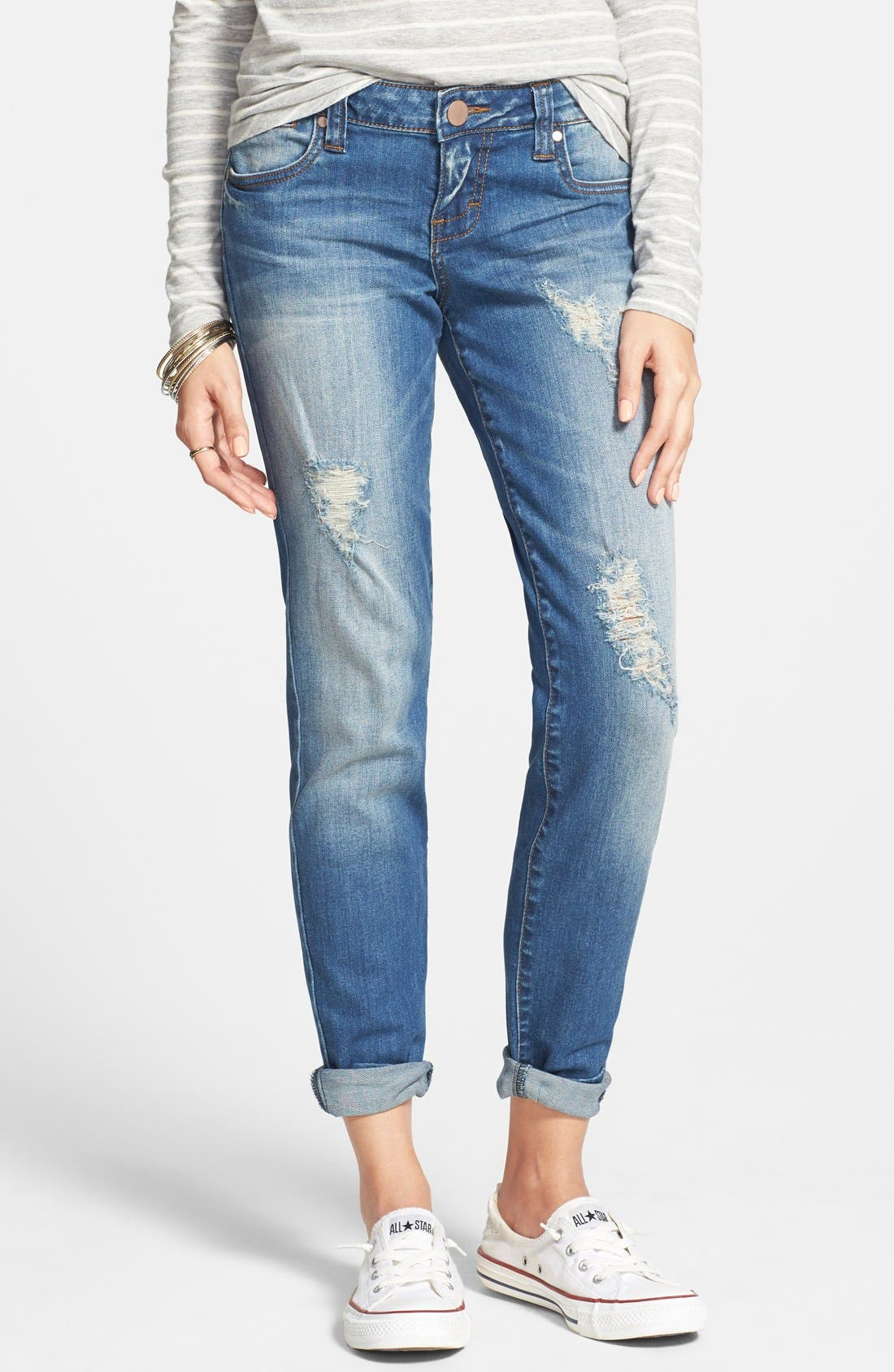 SUN & SHADOW Distressed Jeans, Main, color, 450