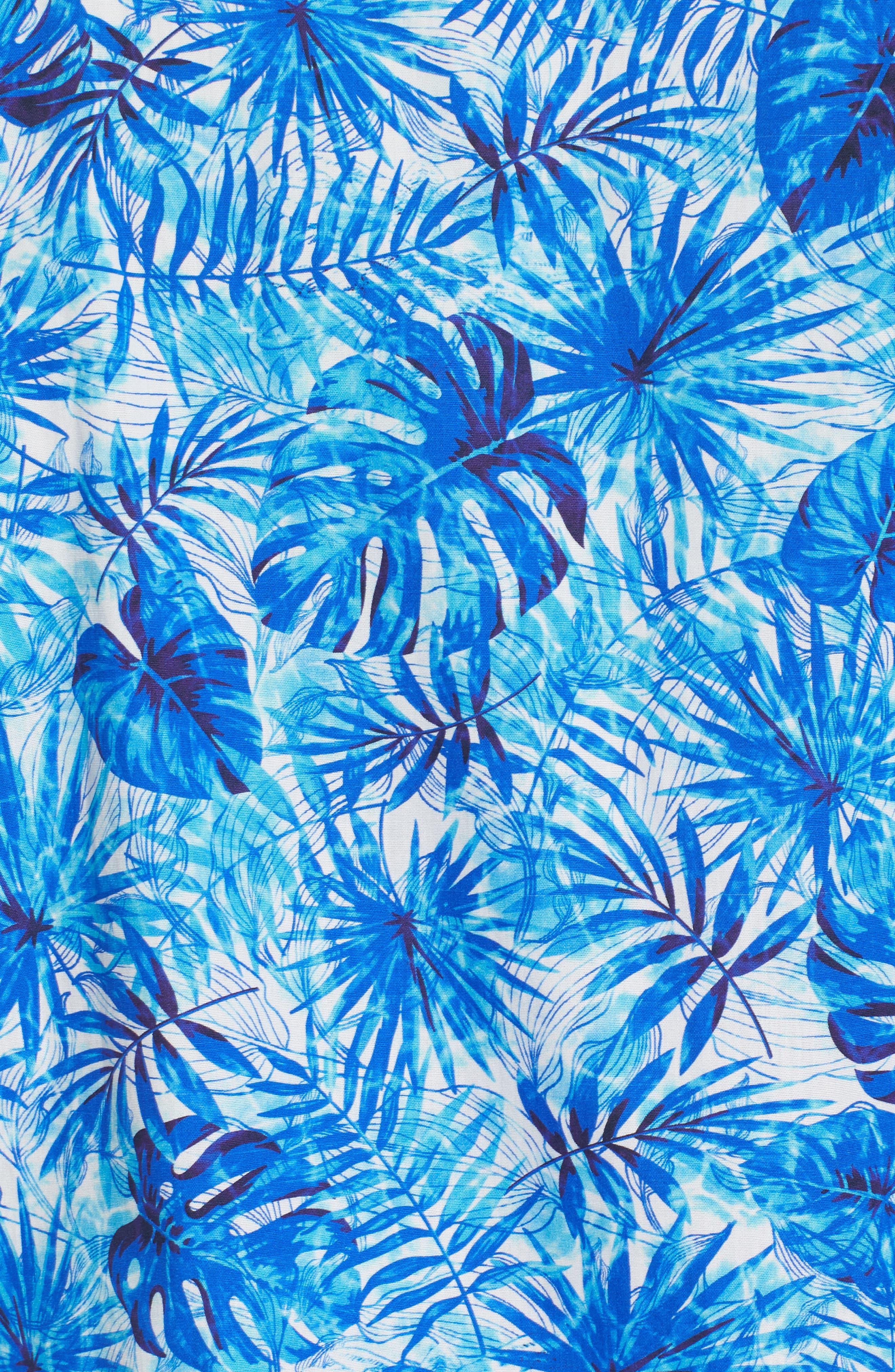 Tropical Leaves Classic Fit Print Sport Shirt,                             Alternate thumbnail 5, color,                             419