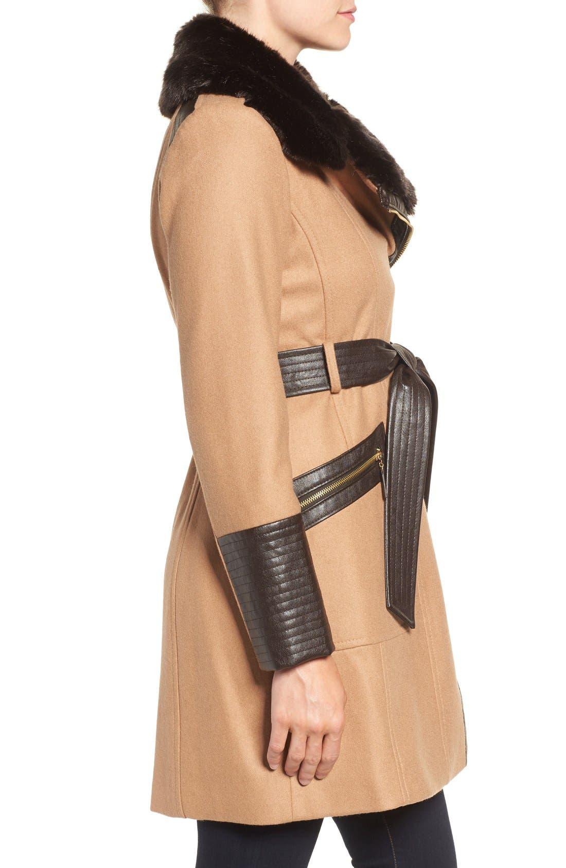 Faux Leather & Faux Fur Trim Belted Wool Blend Coat,                             Alternate thumbnail 22, color,