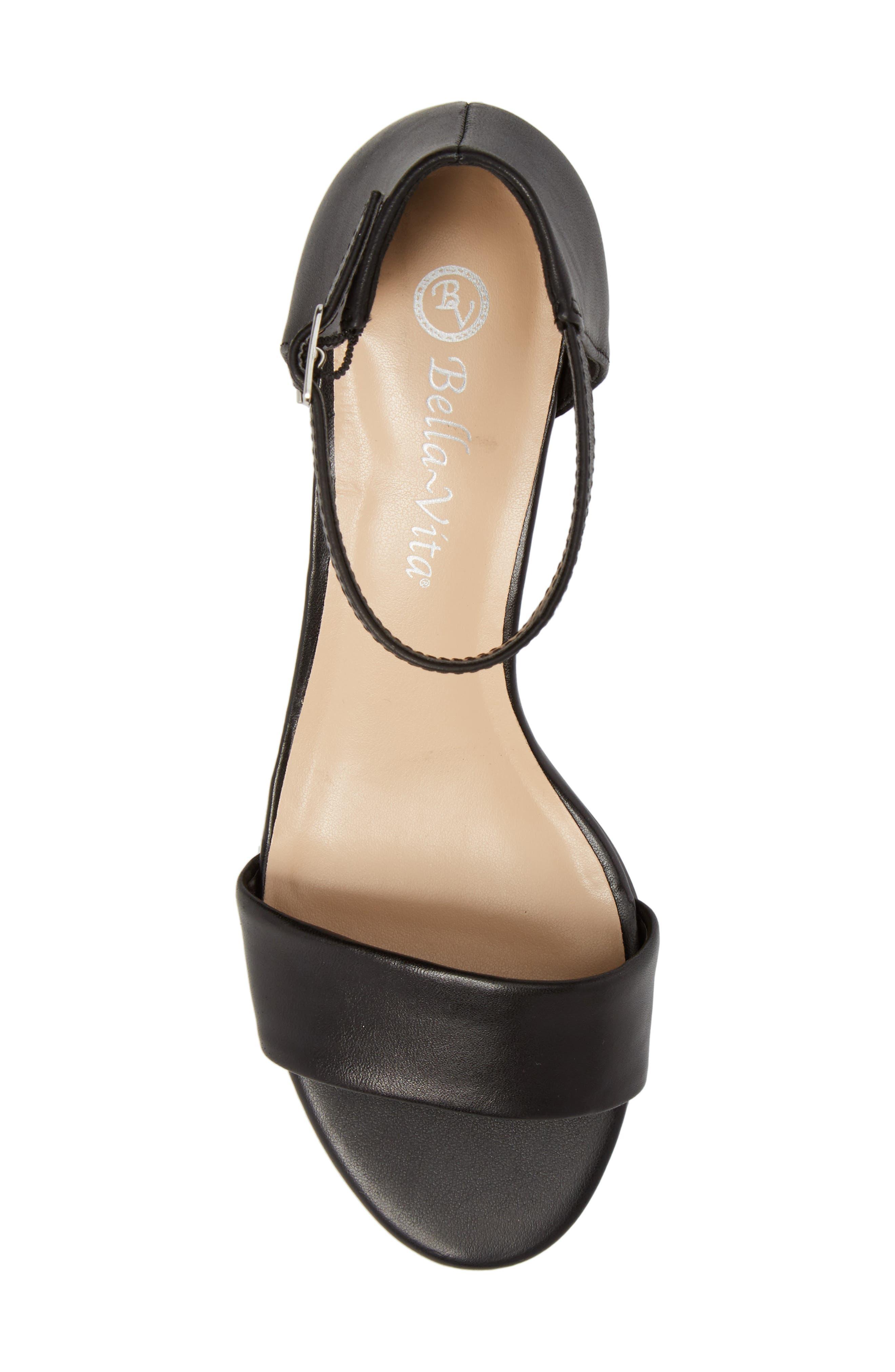 Fitz Block Heel Sandal,                             Alternate thumbnail 5, color,                             BLACK LEATHER