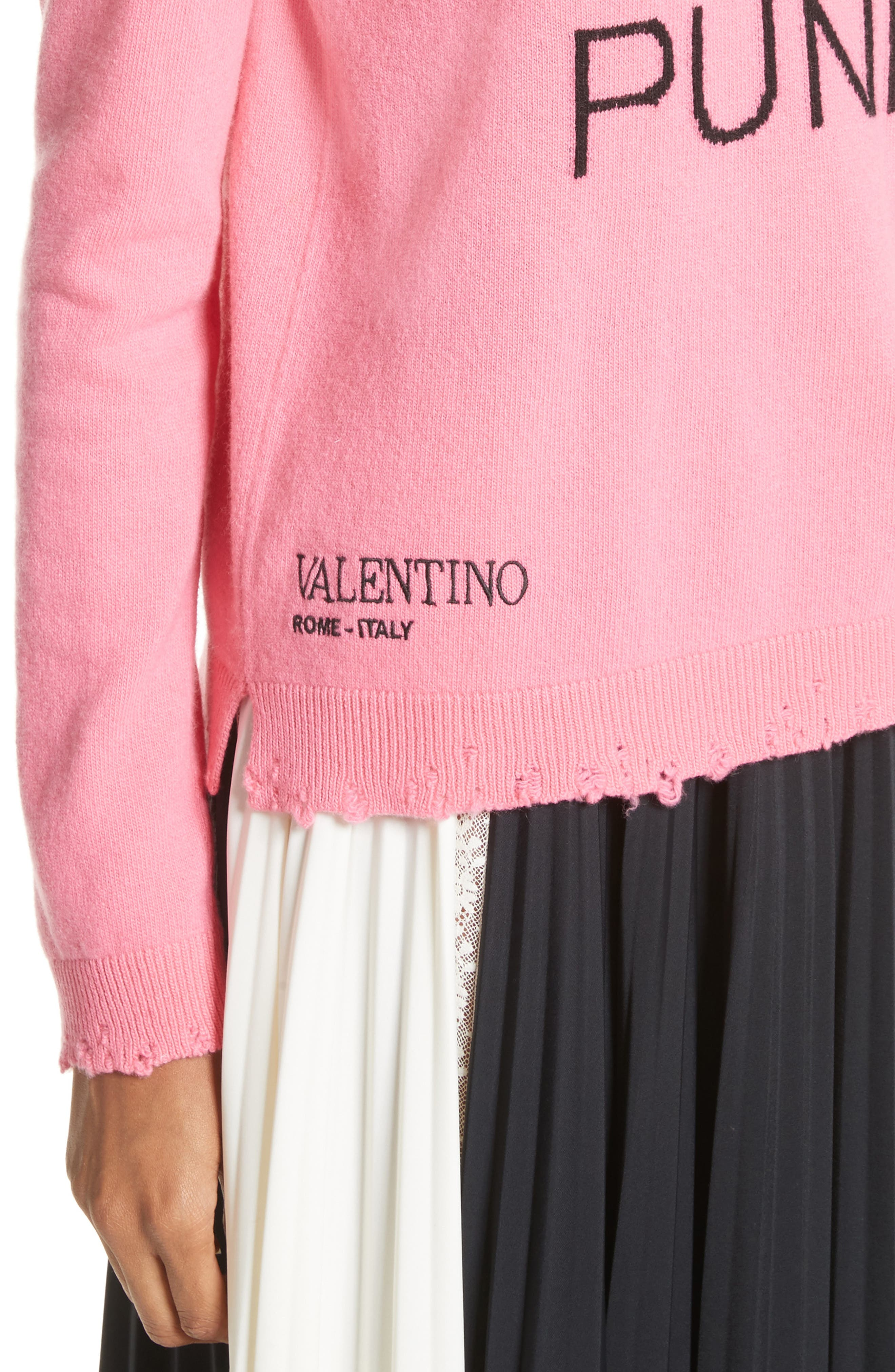 Pink Is Punk Wool & Cashmere Sweater,                             Alternate thumbnail 4, color,                             664
