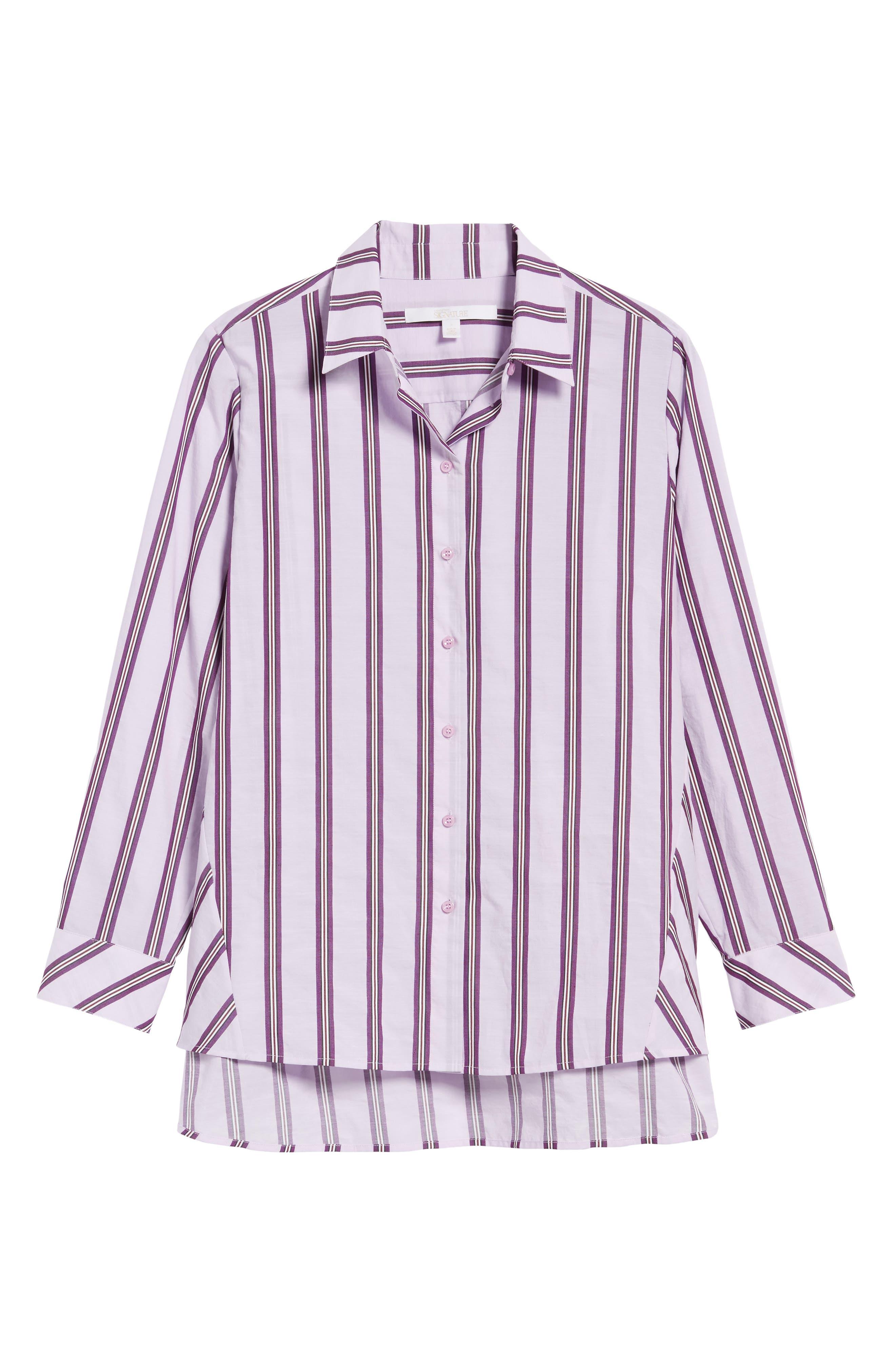 Oversize Stripe Shirt,                             Alternate thumbnail 6, color,                             680
