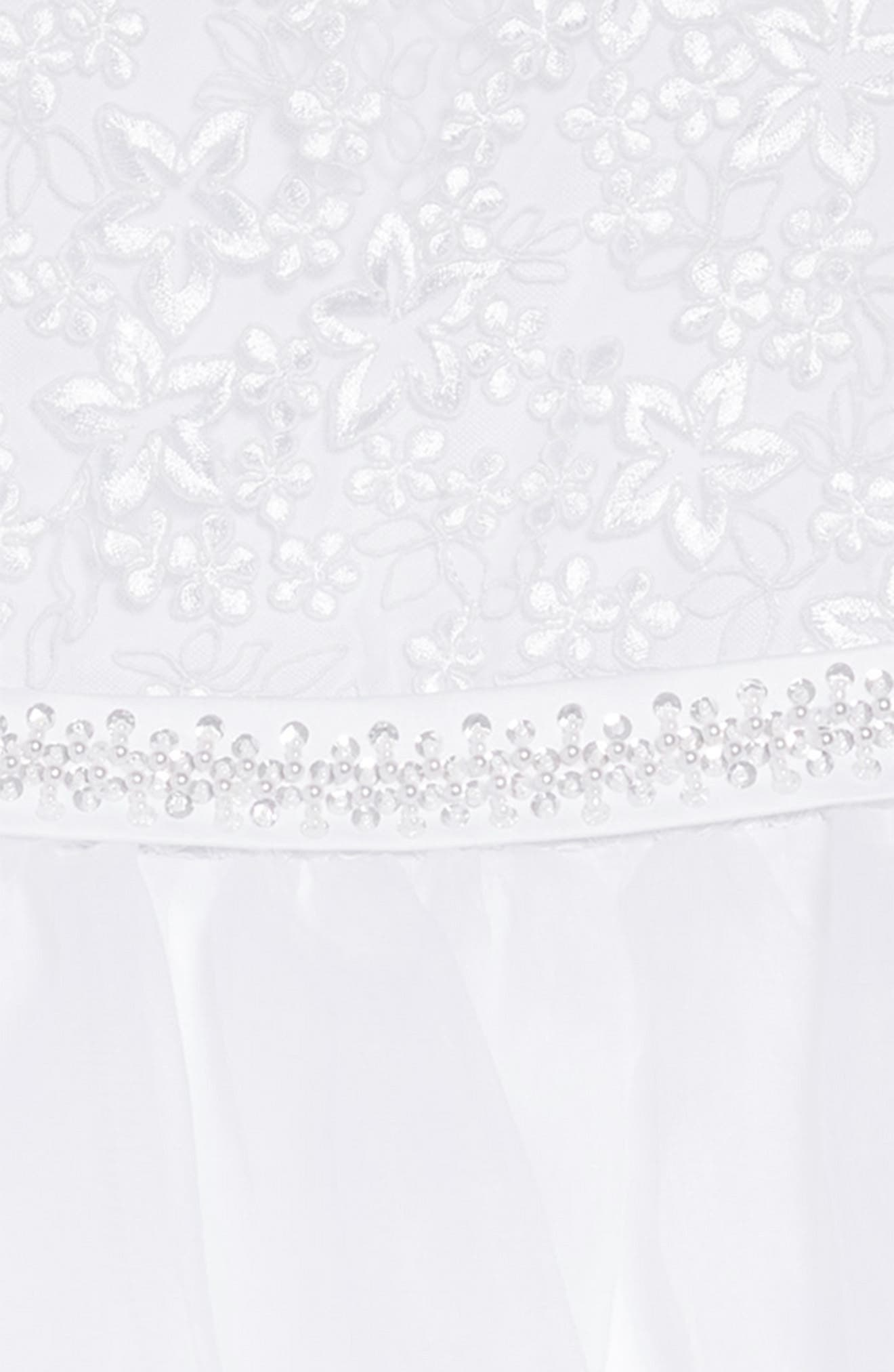 Sleeveless Embroidered & Beaded Communion Dress,                             Alternate thumbnail 3, color,                             WHITE