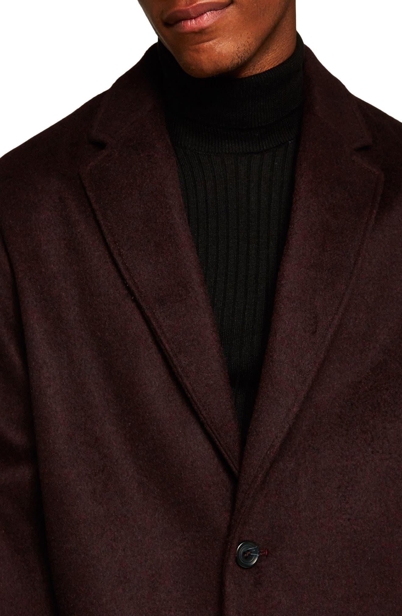 Hayden Oversize Overcoat,                             Alternate thumbnail 3, color,                             BURGUNDY
