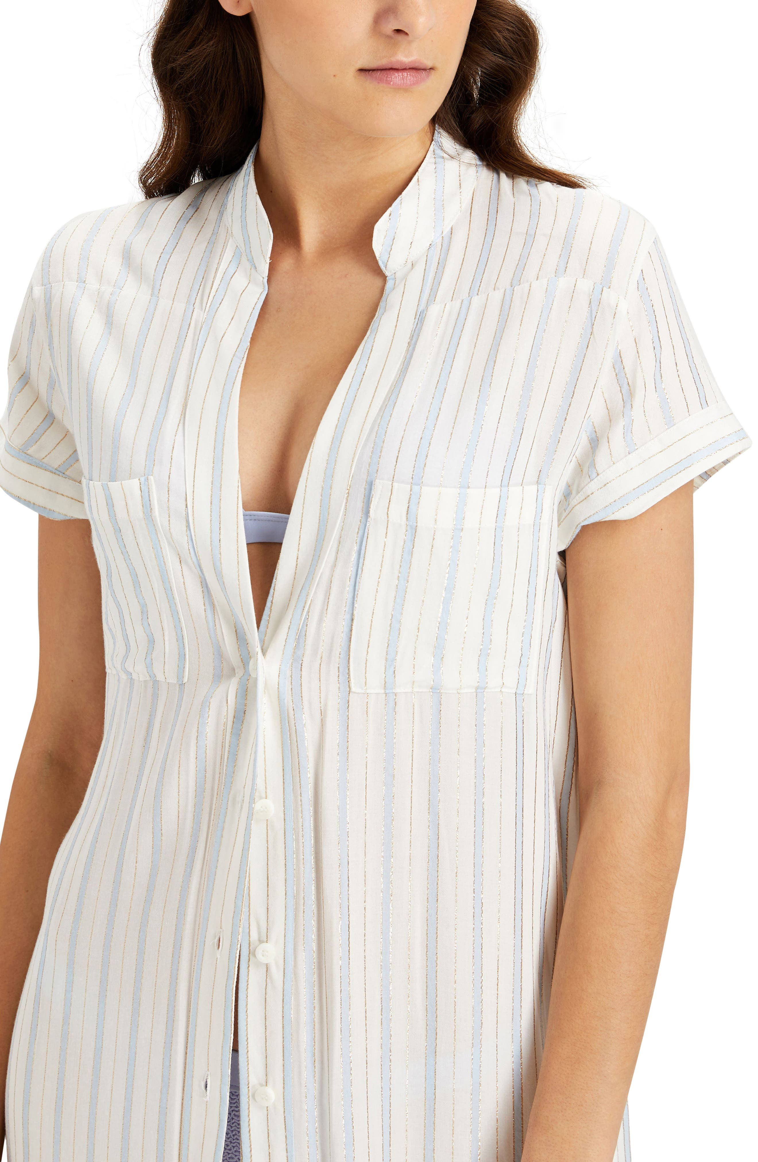 Kim Stripe Button Down Cover-Up Maxi Dress,                             Alternate thumbnail 3, color,                             101