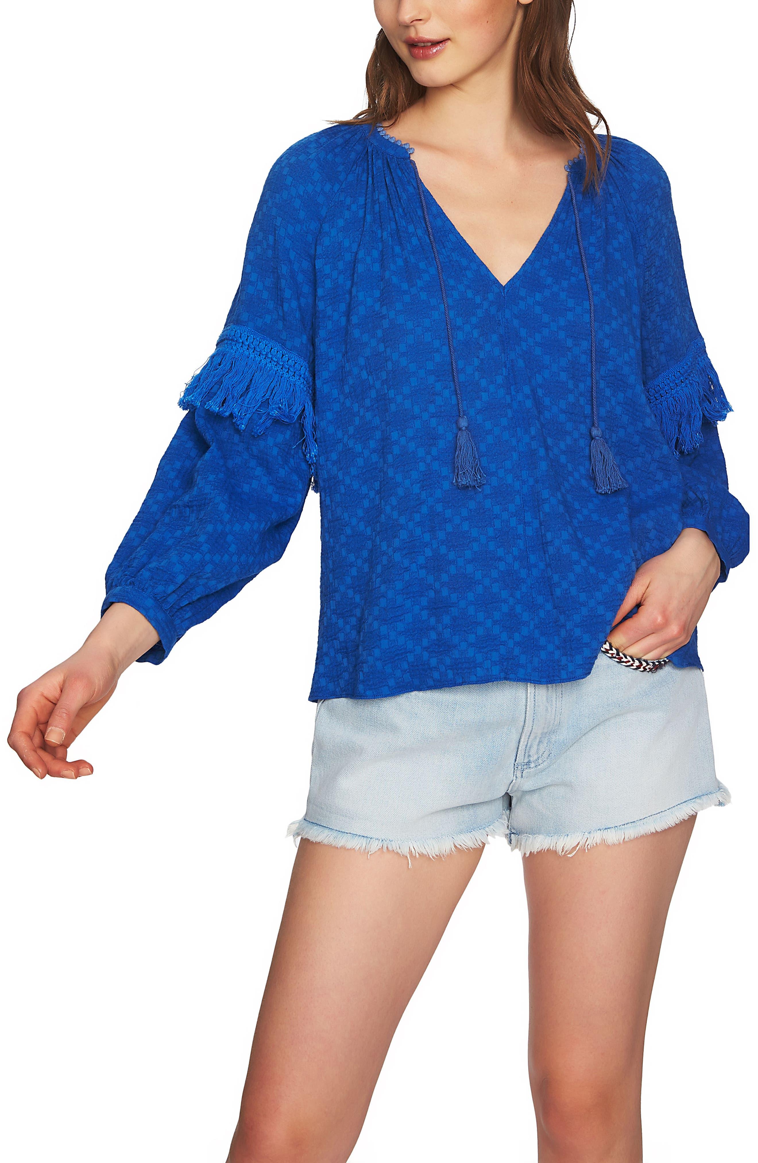 Split Neck Blouson Sleeve Top,                         Main,                         color, 474