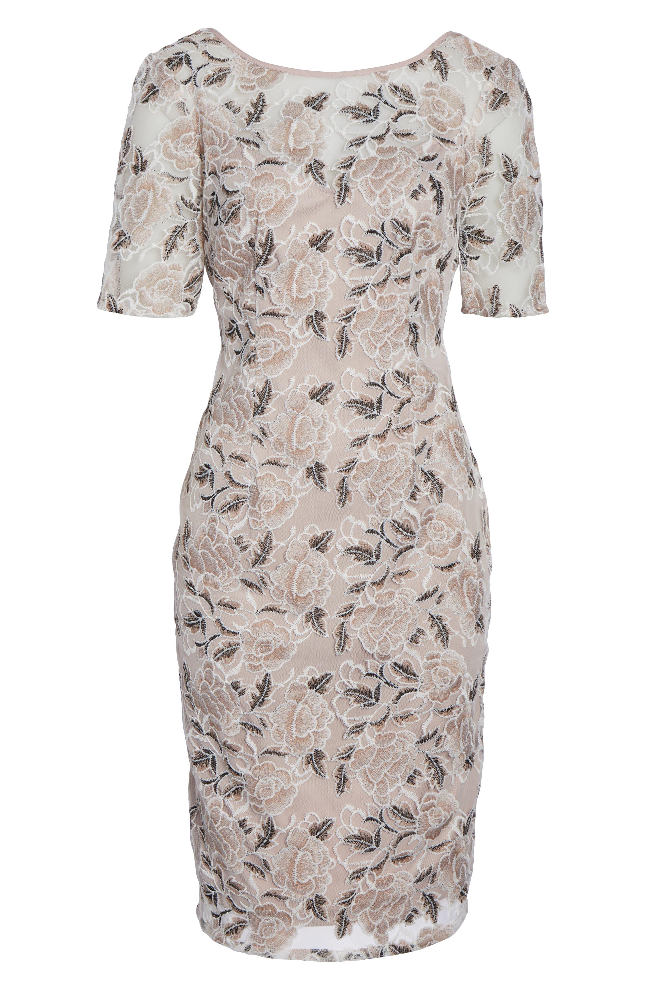 Suzette Embroidered Sheath Dress,                             Alternate thumbnail 6, color,