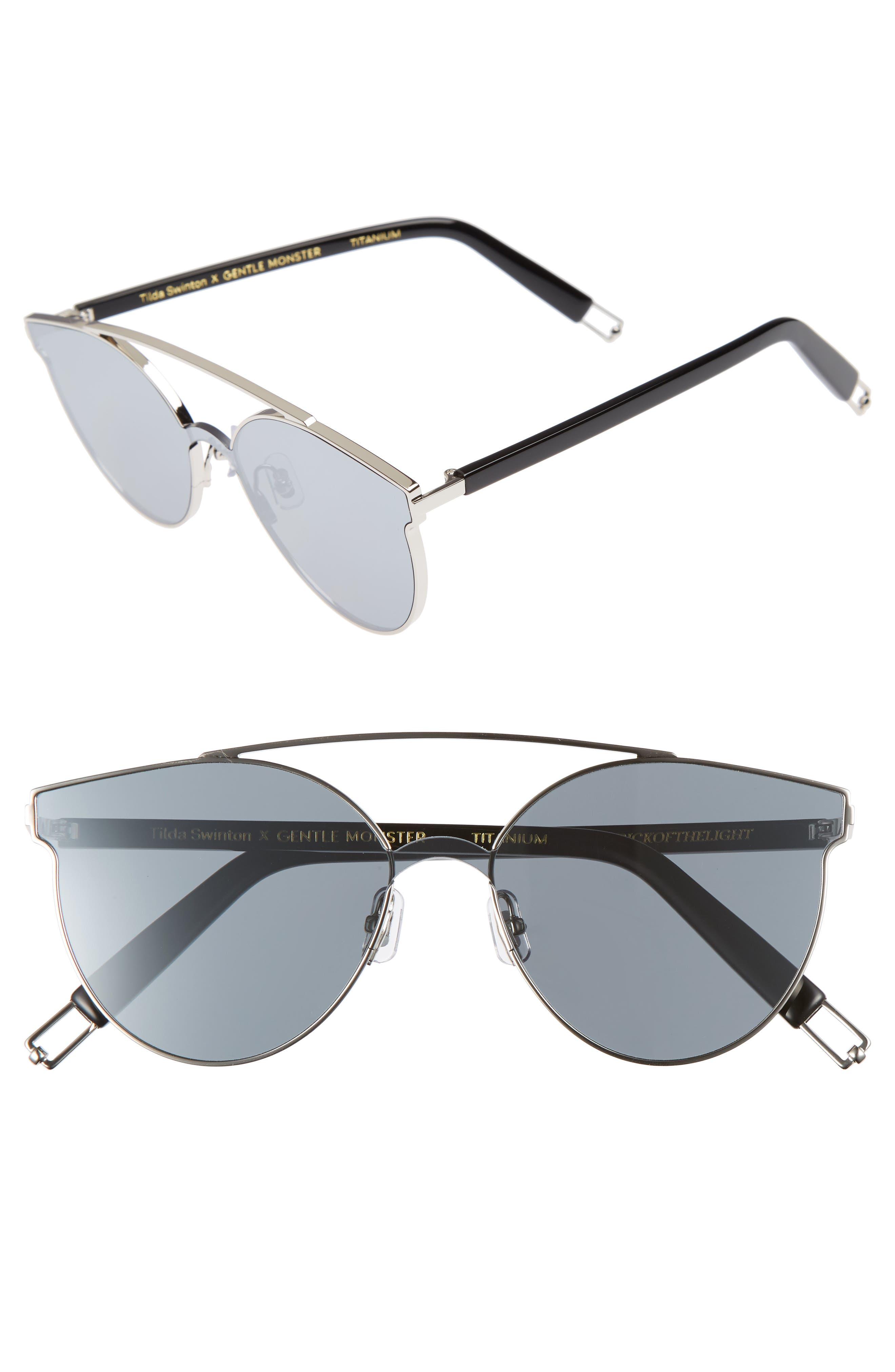 Tilda Swinton x Gentle Monster Trick of the Light 60mm Shield Sunglasses,                             Main thumbnail 1, color,                             040