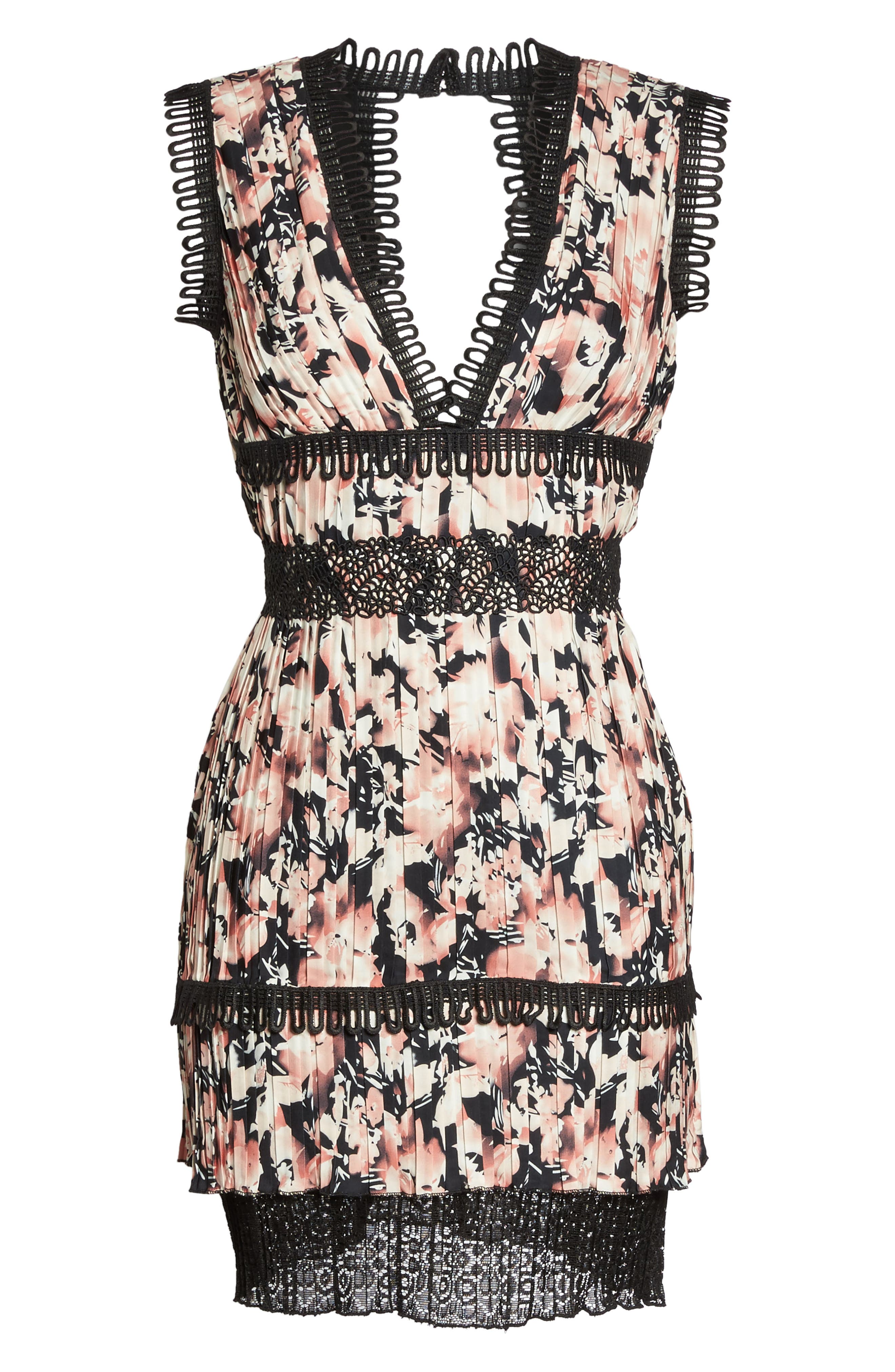 Jasmine Floral Pleated Fit & Flare Dress,                             Alternate thumbnail 6, color,                             651