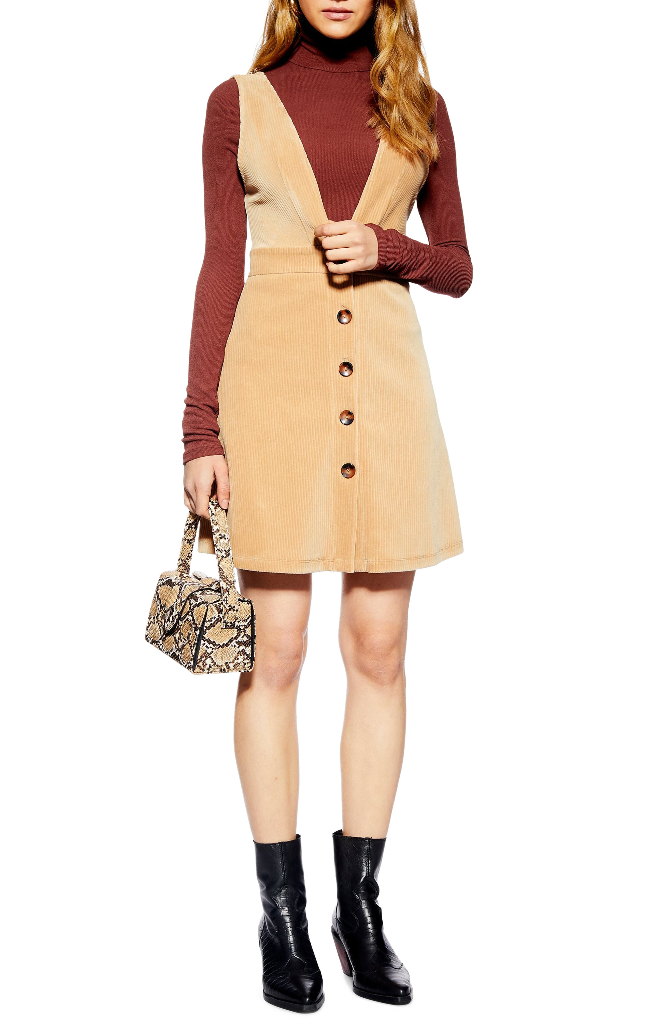 Topshop Corduroy Pinafore Dress, US (fits like 14) - Beige