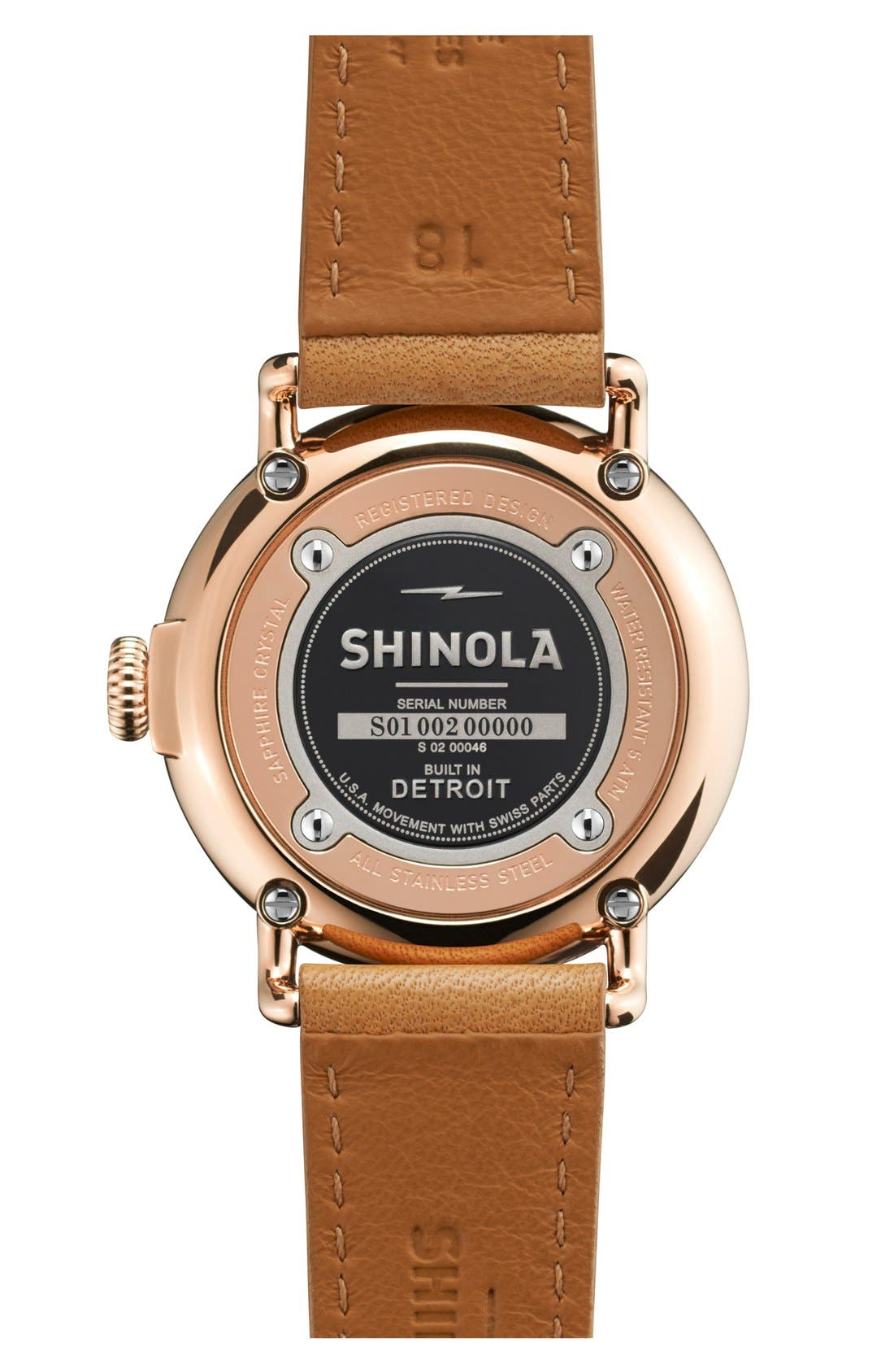 The Runwell Leather Strap Watch, 36mm,                             Alternate thumbnail 2, color,                             NATURAL/ ROSE GOLD